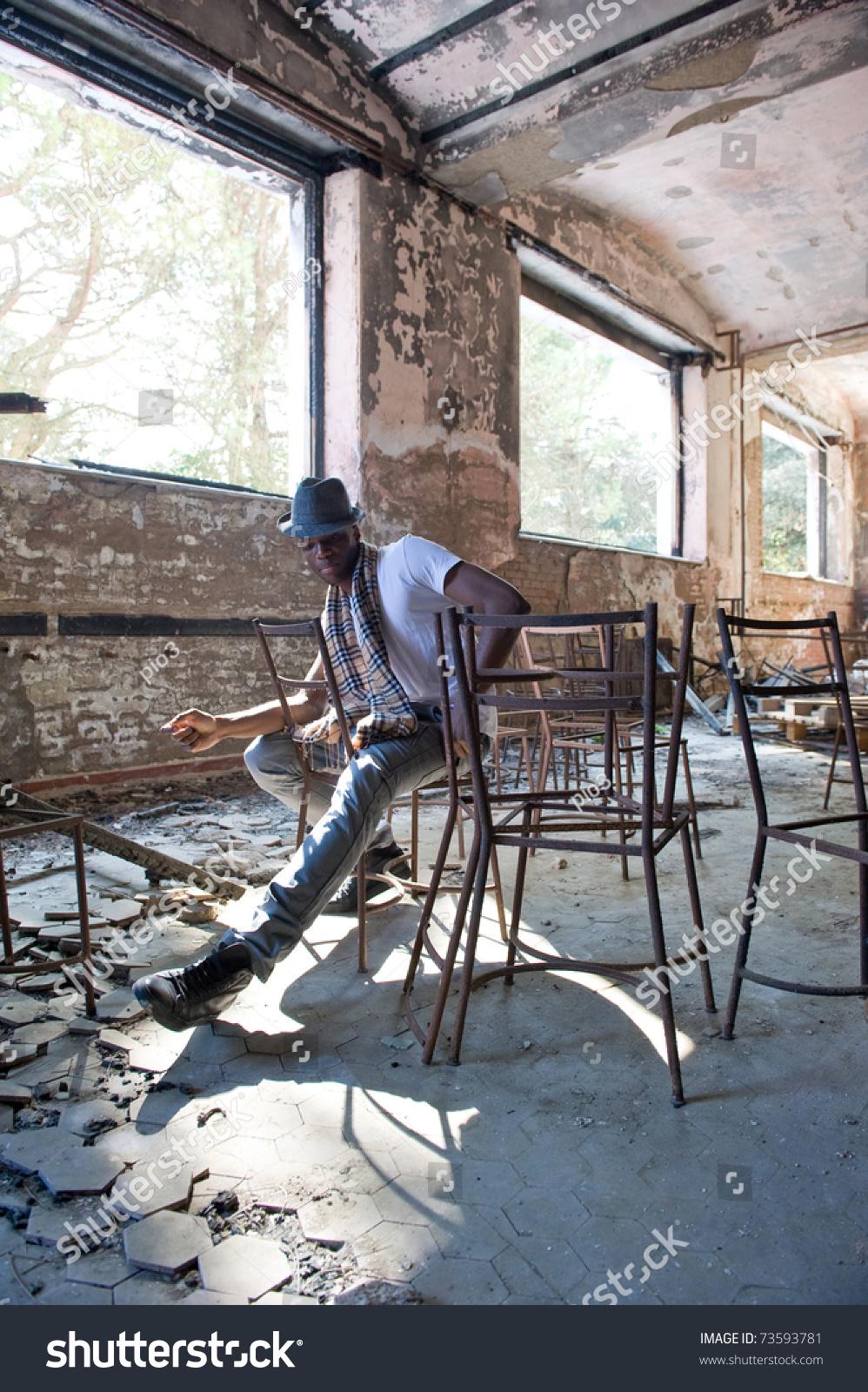 Black Man Intense Portrait Inside Abandoned Stock Photo Edit Now 73593781