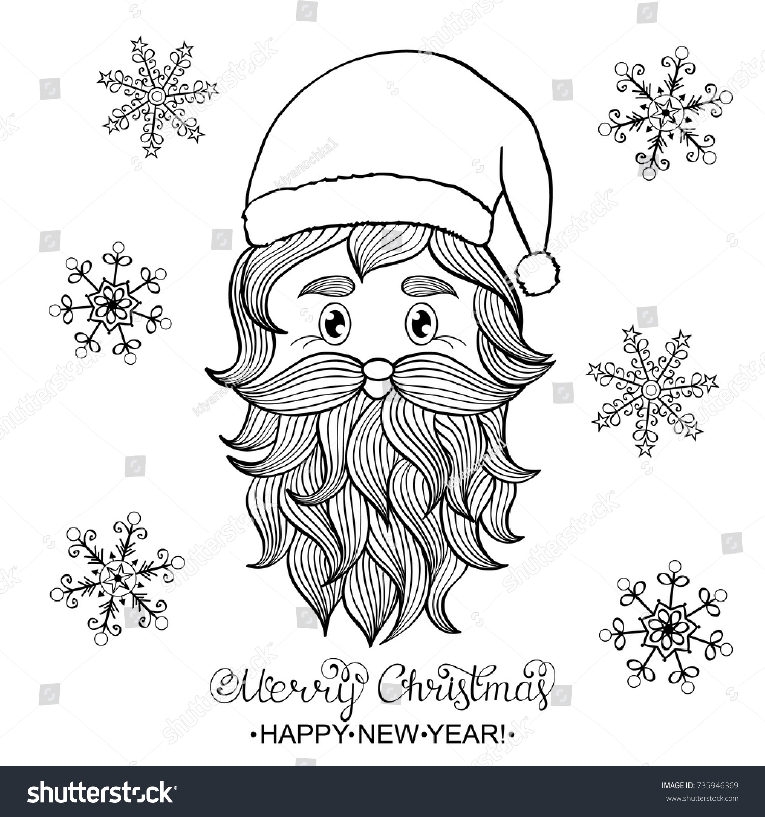 hand drawn head of santa claus on white backgroundcoloring page for children and adult