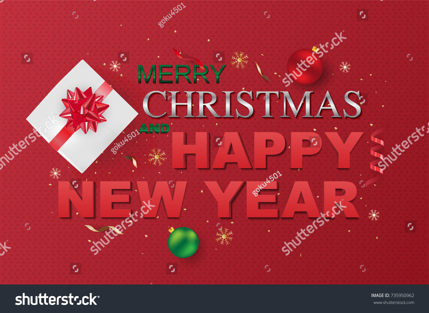 Merry Christmas Happy New Year On Stock Vector 735950962 Shutterstock
