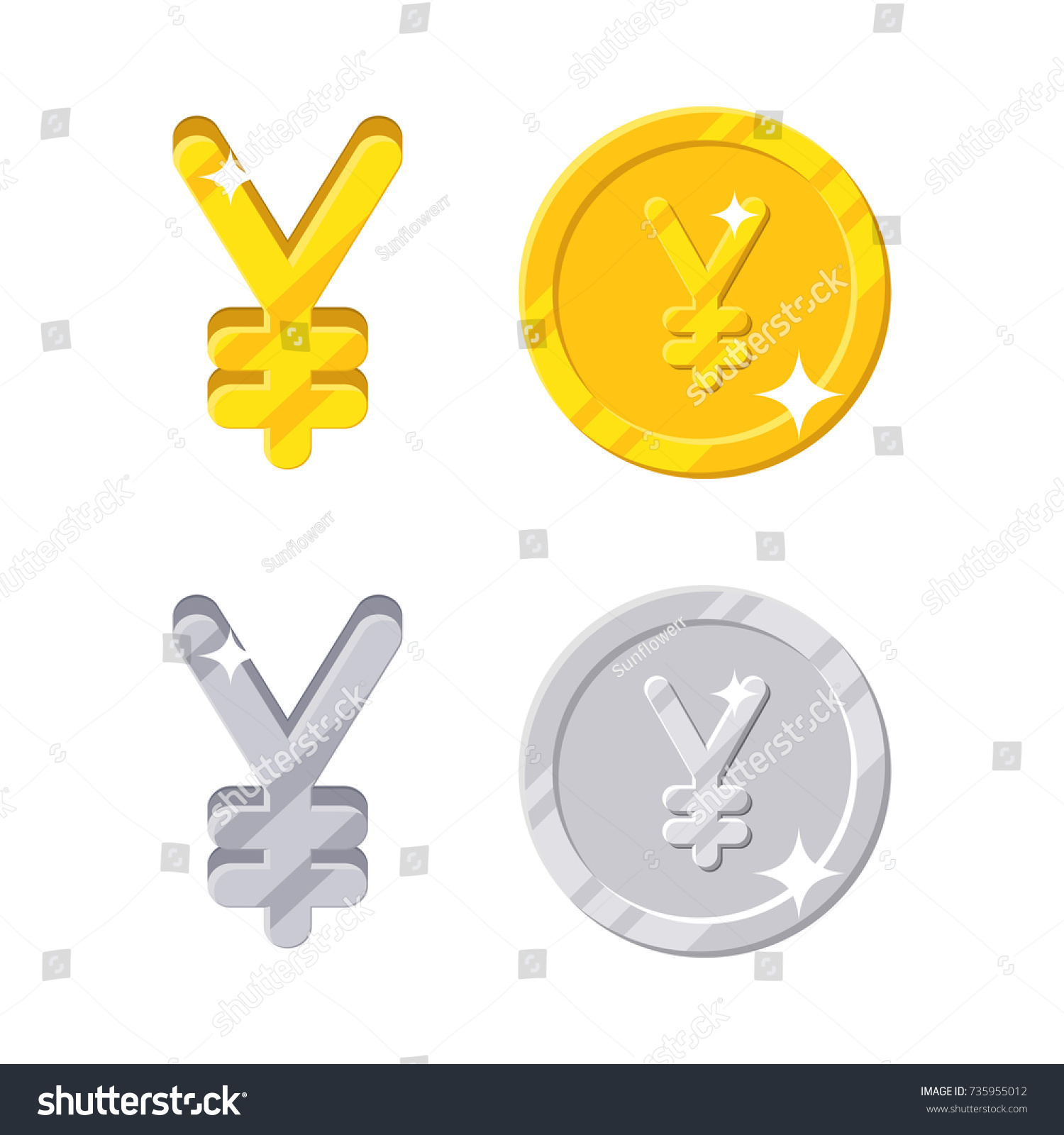 Yen yuan sign gold silver symbol stock vector 735955012 shutterstock gold and silver symbol of japan or china currency and coins biocorpaavc Choice Image