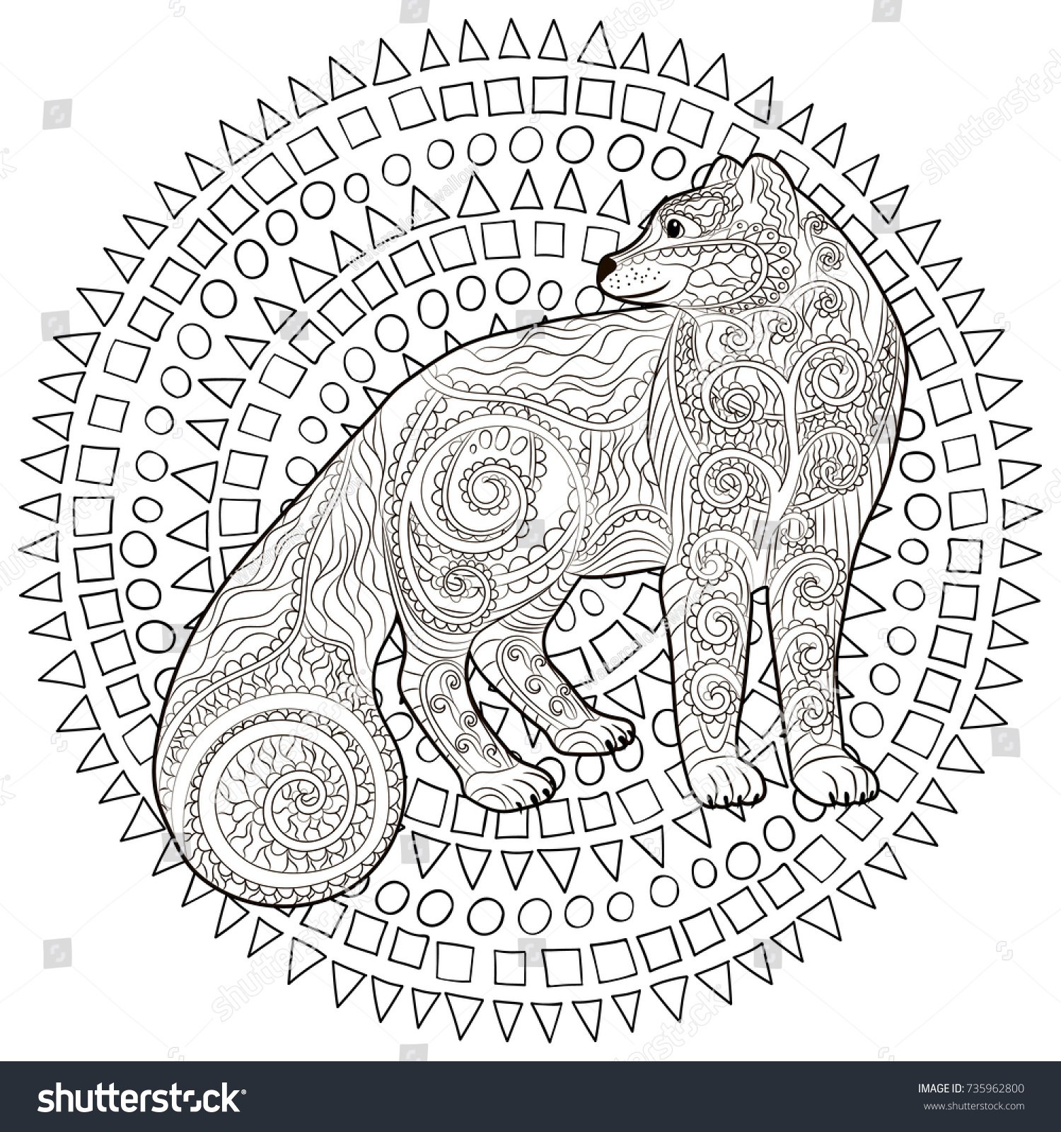 Coloring Page Arctic Fox Anti Stress Stock Vector (Royalty Free ...