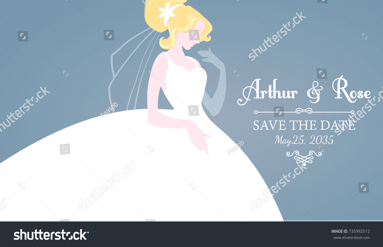 Wedding Invitation Blonde Bride Wedding Dress Stock Vector 735992512 ...