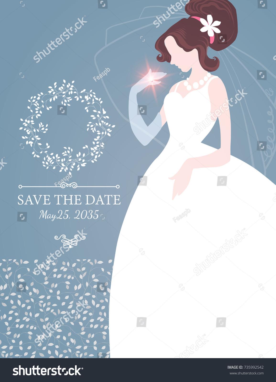 Wedding Invitation Brunette Bride Wedding Dress Stock Vector ...