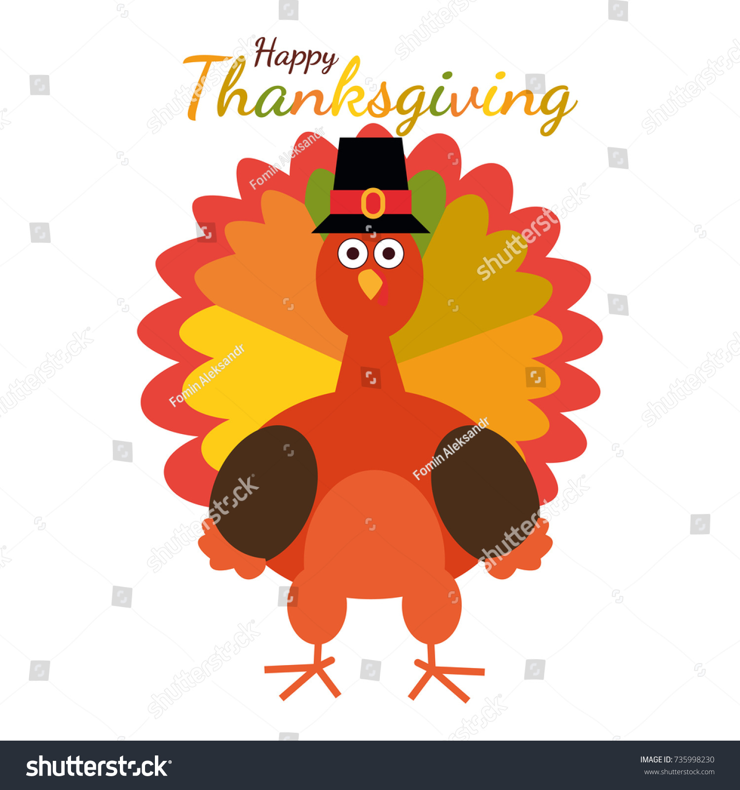 Happy Thanksgiving Greeting Card Funny Cartoon Stock Vector