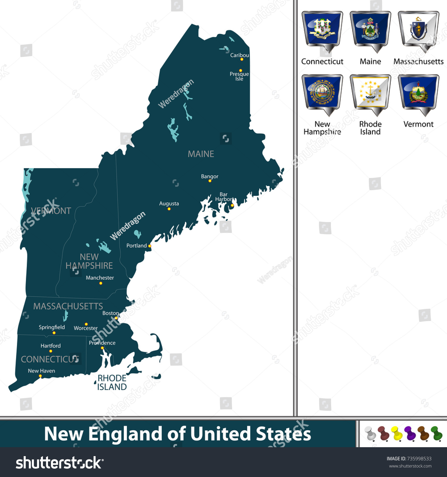 Vector Set New England United States Stock Vector (Royalty Free ...