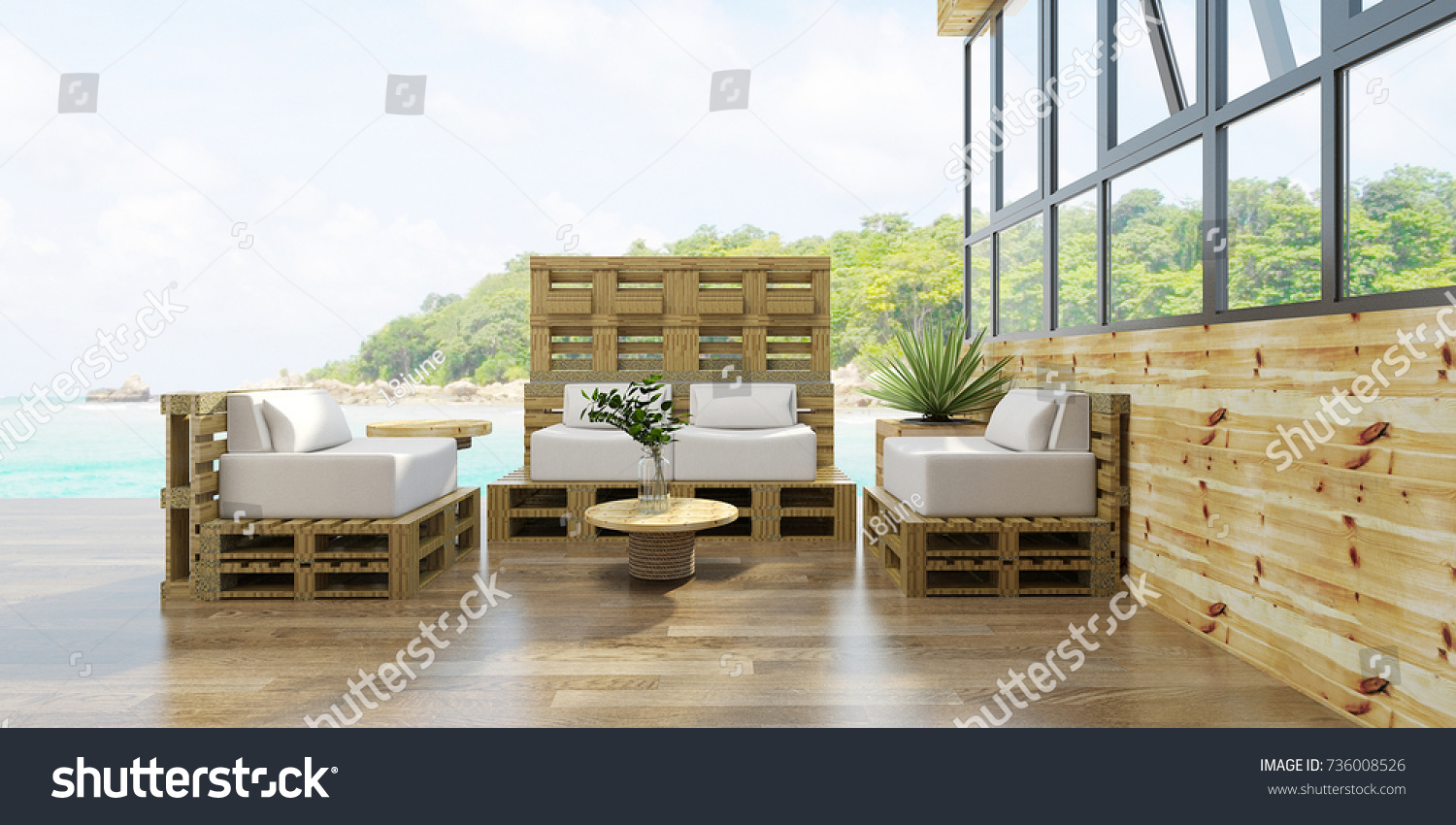 Beach Living Lounge Wood Pallet Chair Stock Illustration 736008526