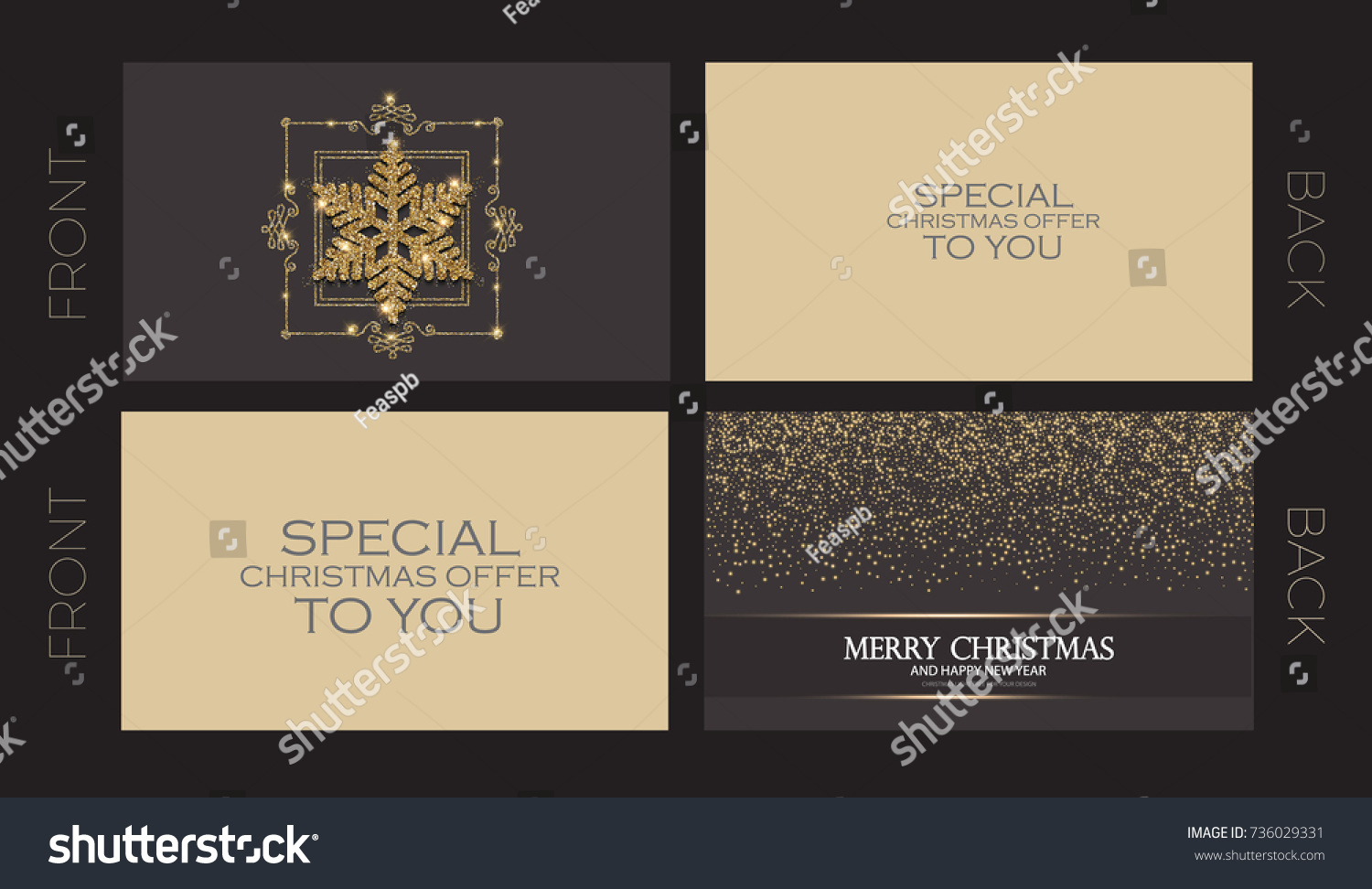Merry christmas new year offer cards stock vector royalty free merry christmas and new year offer cards template business cards vip greetings m4hsunfo