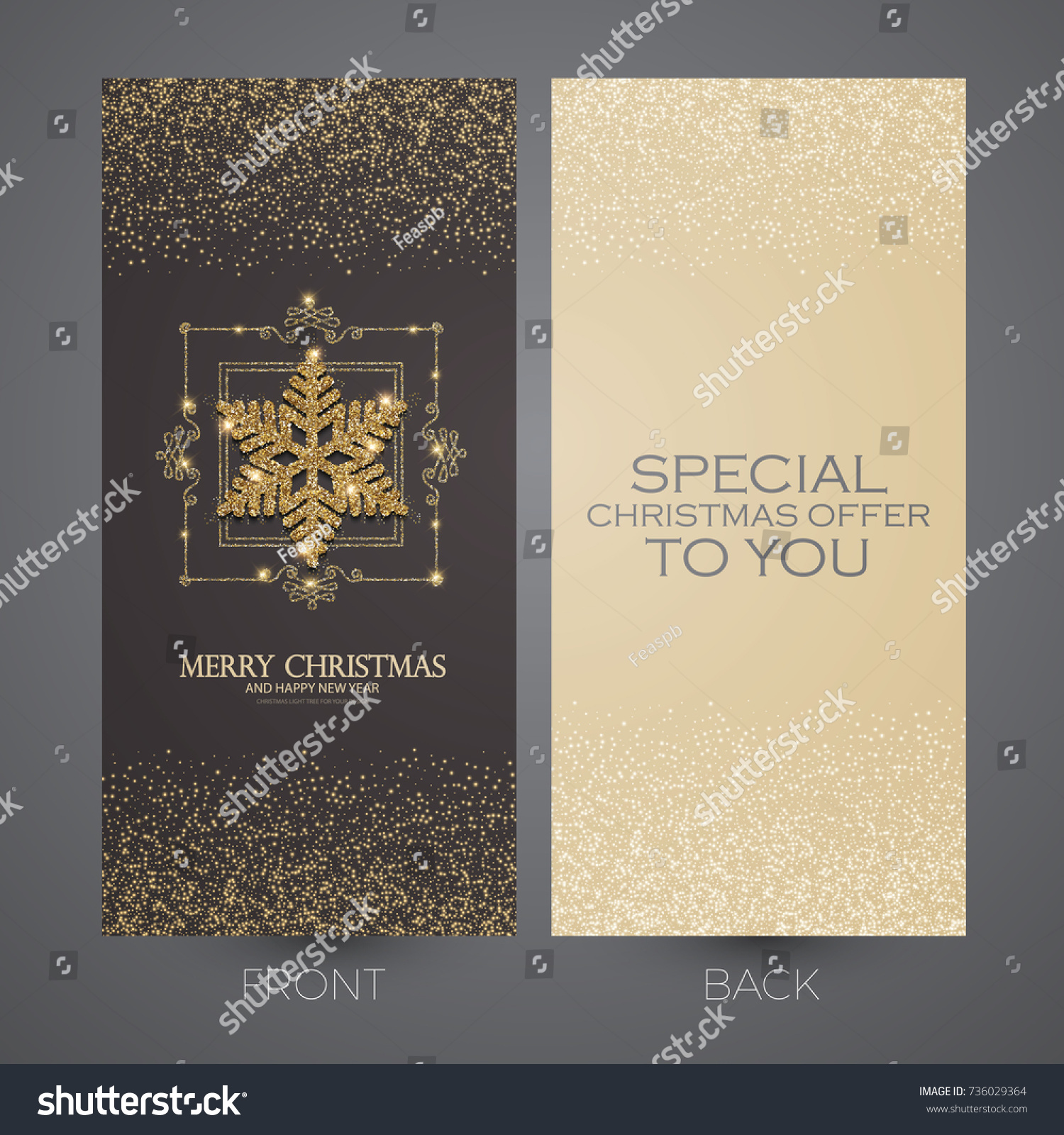 Merry Christmas New Year Offer Cards Stock Vector (2018) 736029364 ...