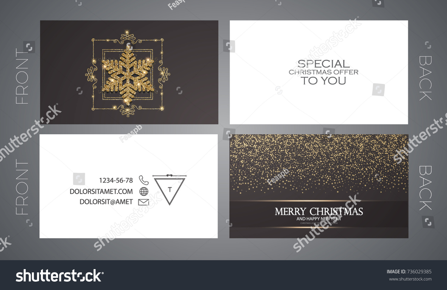Merry Christmas New Year Offer Cards Stock Vector 736029385 ...