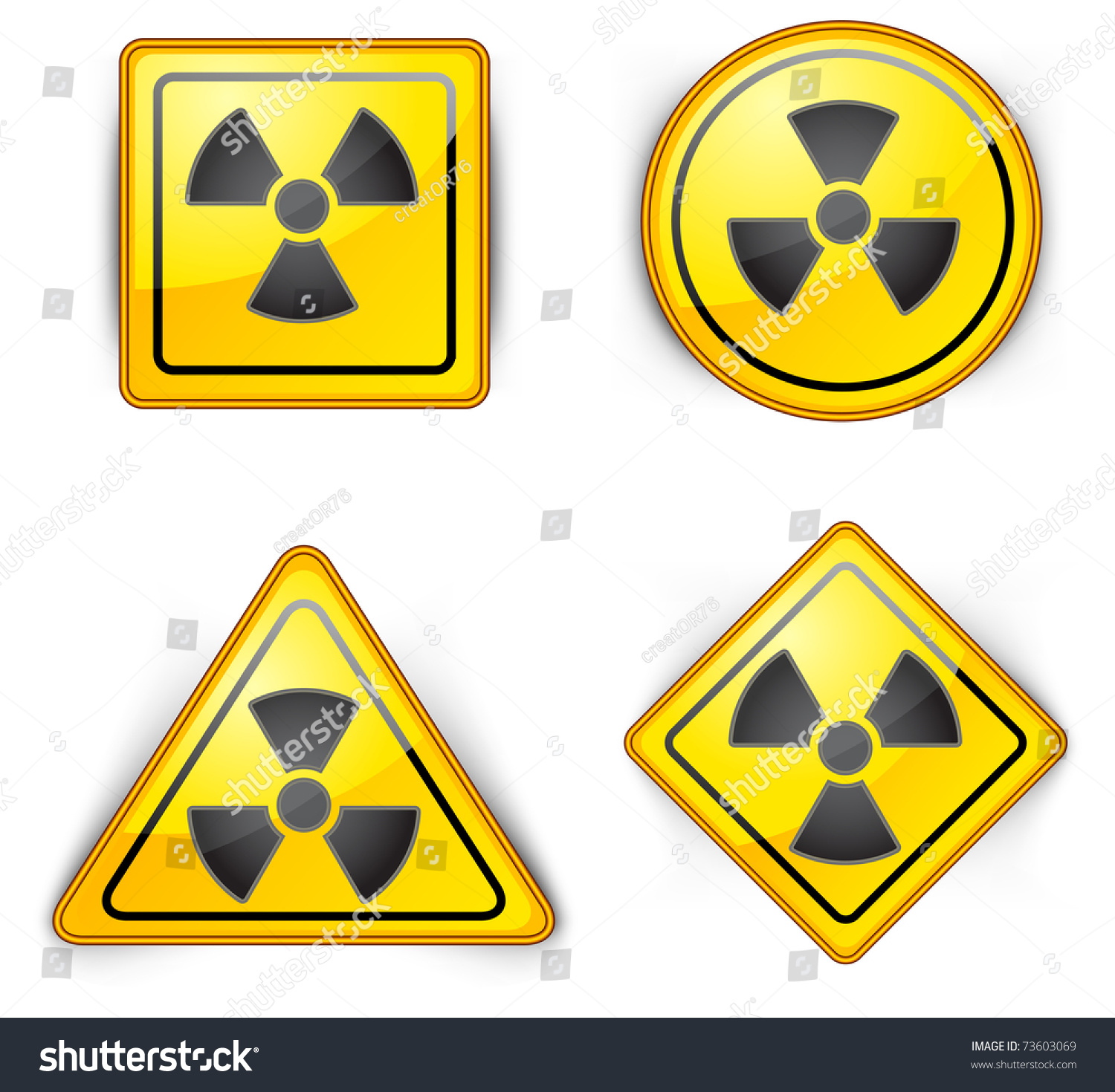Nuclear Symbol Carefully Dangerously Radioactive Waste Stock Vector