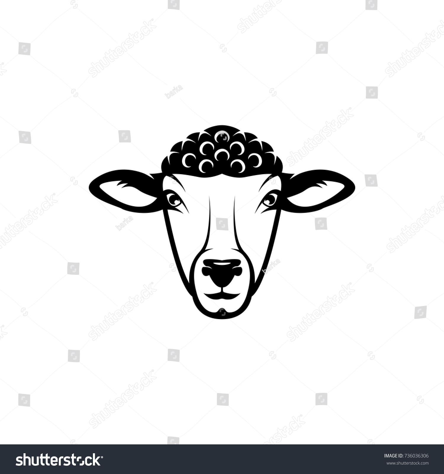 Vector Sheep Head Face Retro Logos Stock Vector 736036306 - Shutterstock