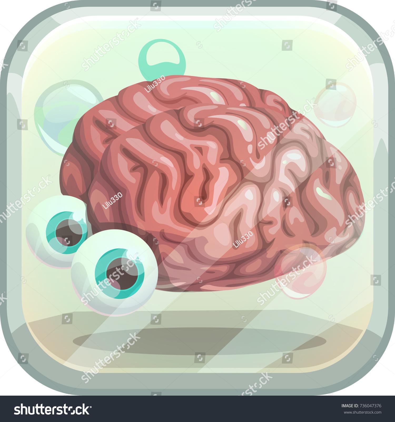 Scary App Icon Creepy Brain Tank Stock Vektorgrafik Lizenzfrei