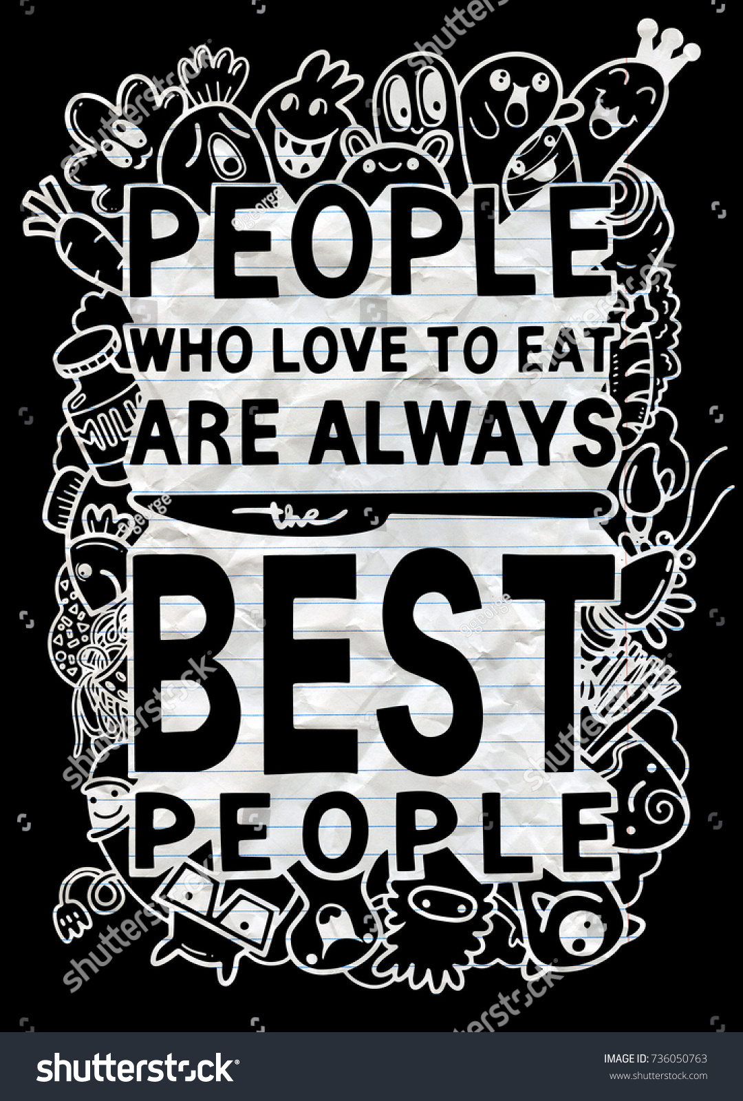 People Who Love To Eat Typography Kitchen Poster. Cut Monster With Food  Related Quote.