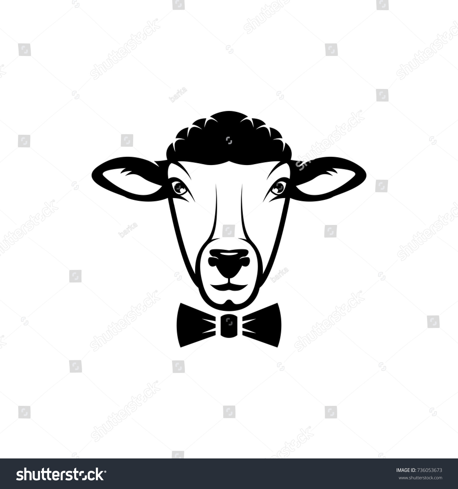 Vector Sheep Head Face Retro Logos Stock Vector (2018) 736053673 ...