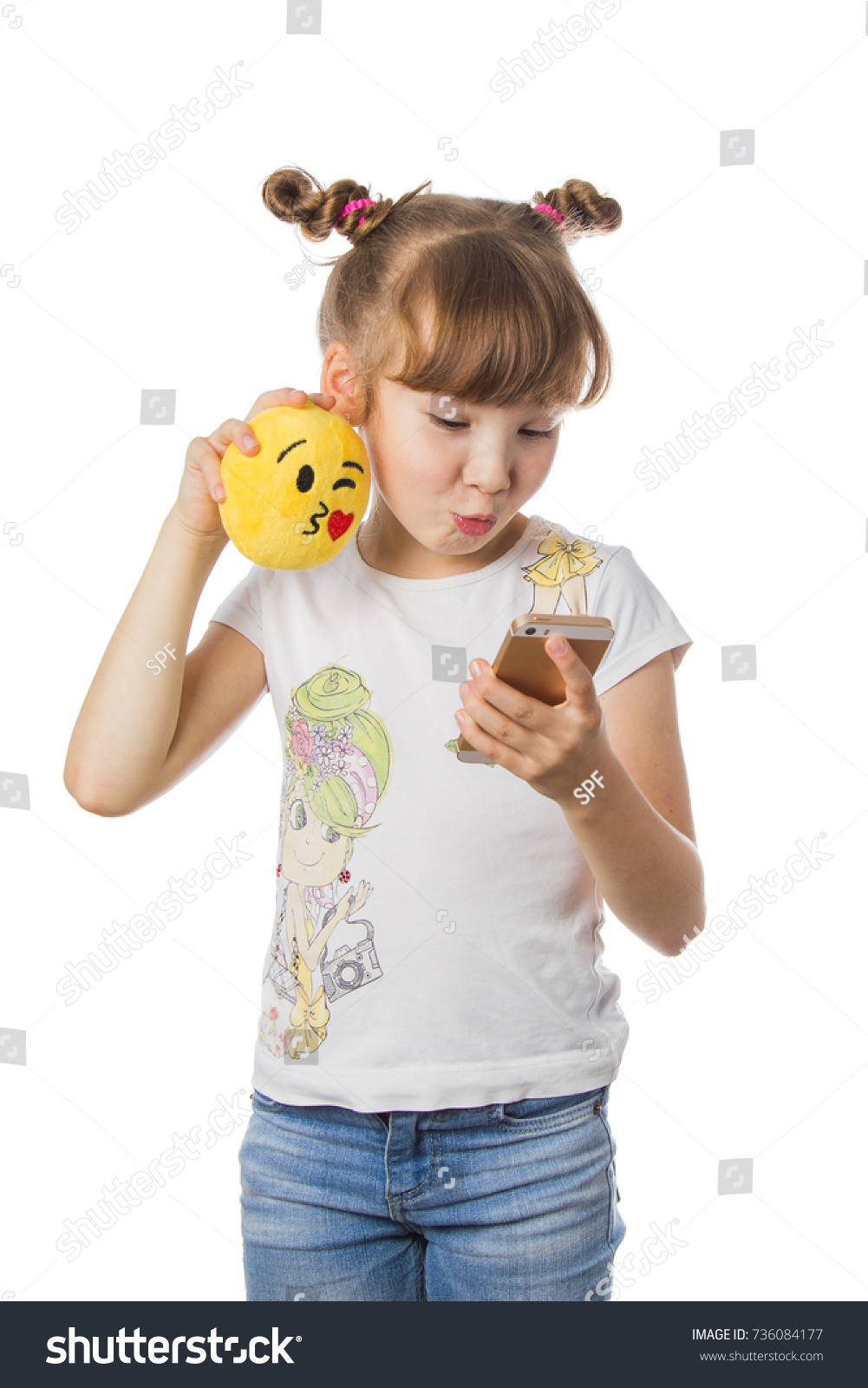 Young Girl Blond Hair Holding Emoji Stock Photo (Edit Now