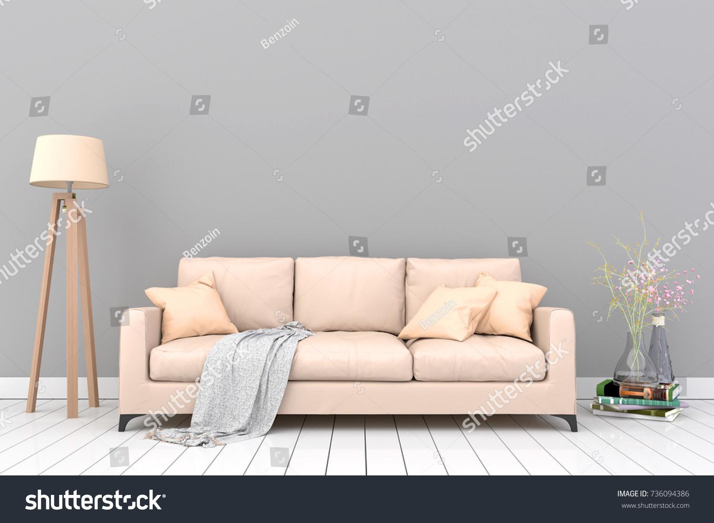 Minimal Gray Living Room Interior Light Stock Illustration 736094386