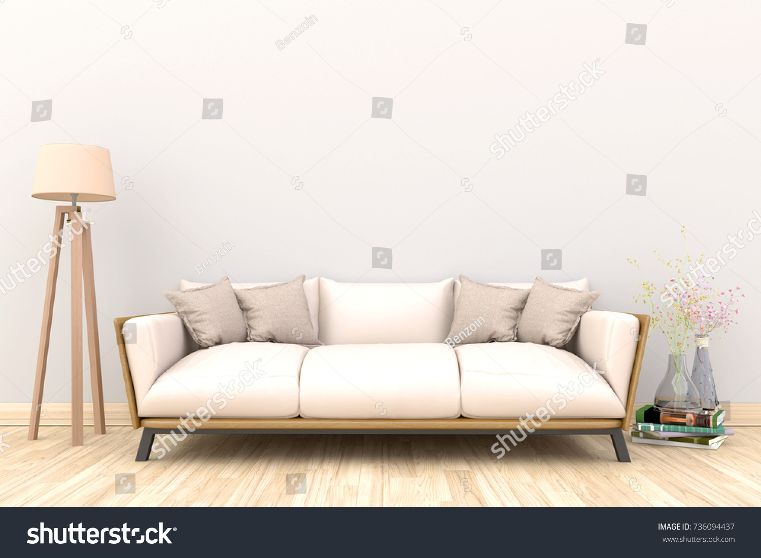Minimal White Living Room Interior White Stock Illustration ...