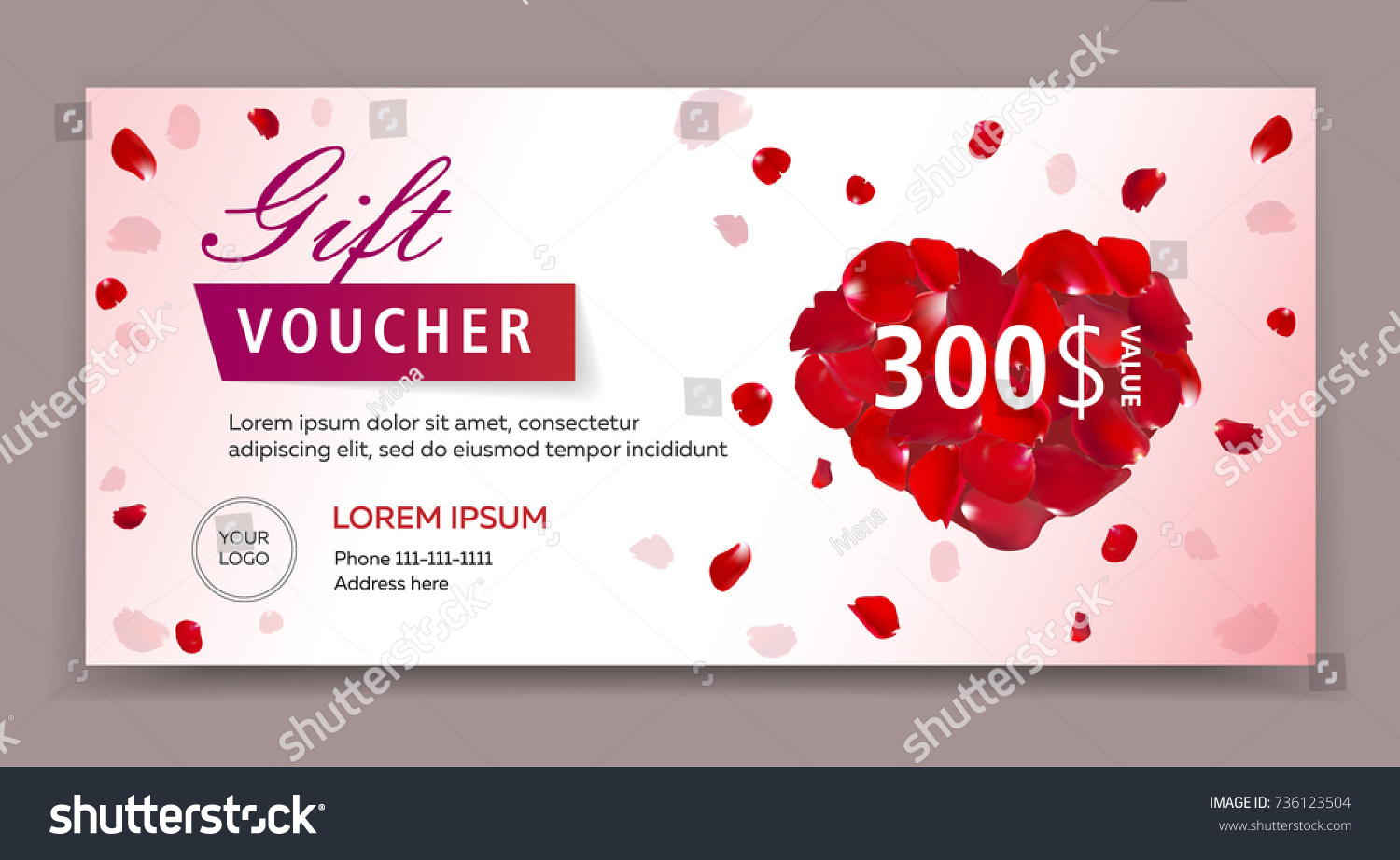 Gift voucher certificate coupon template valentines stock vector gift voucher certificate or coupon template for valentines or womans day eps 10 vector 1betcityfo Image collections