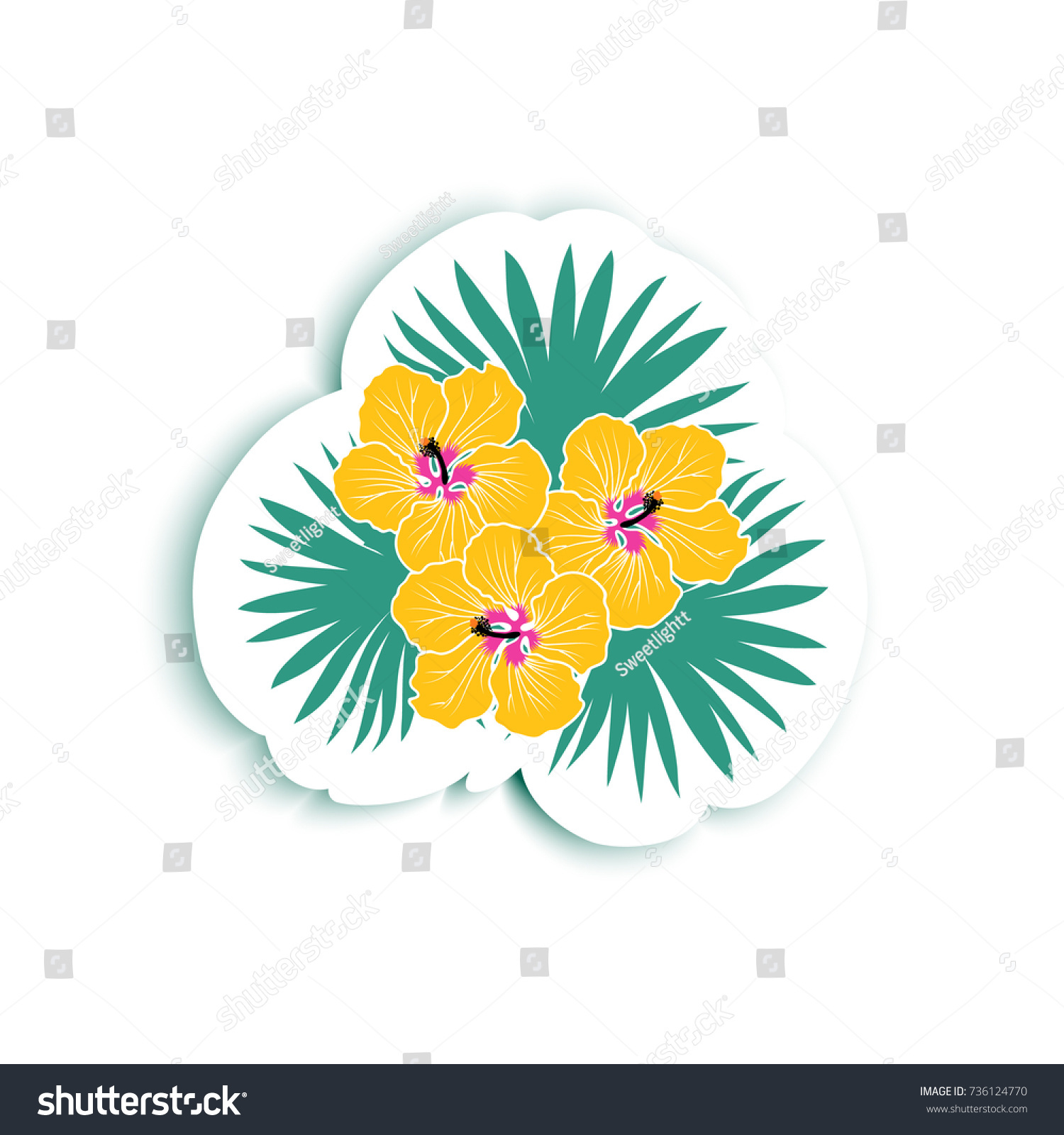 Tropical sticker fashion pin brooch patch stock vector 736124770 tropical sticker fashion pin brooch patch embroidery appliqu with hibiscus flower and izmirmasajfo