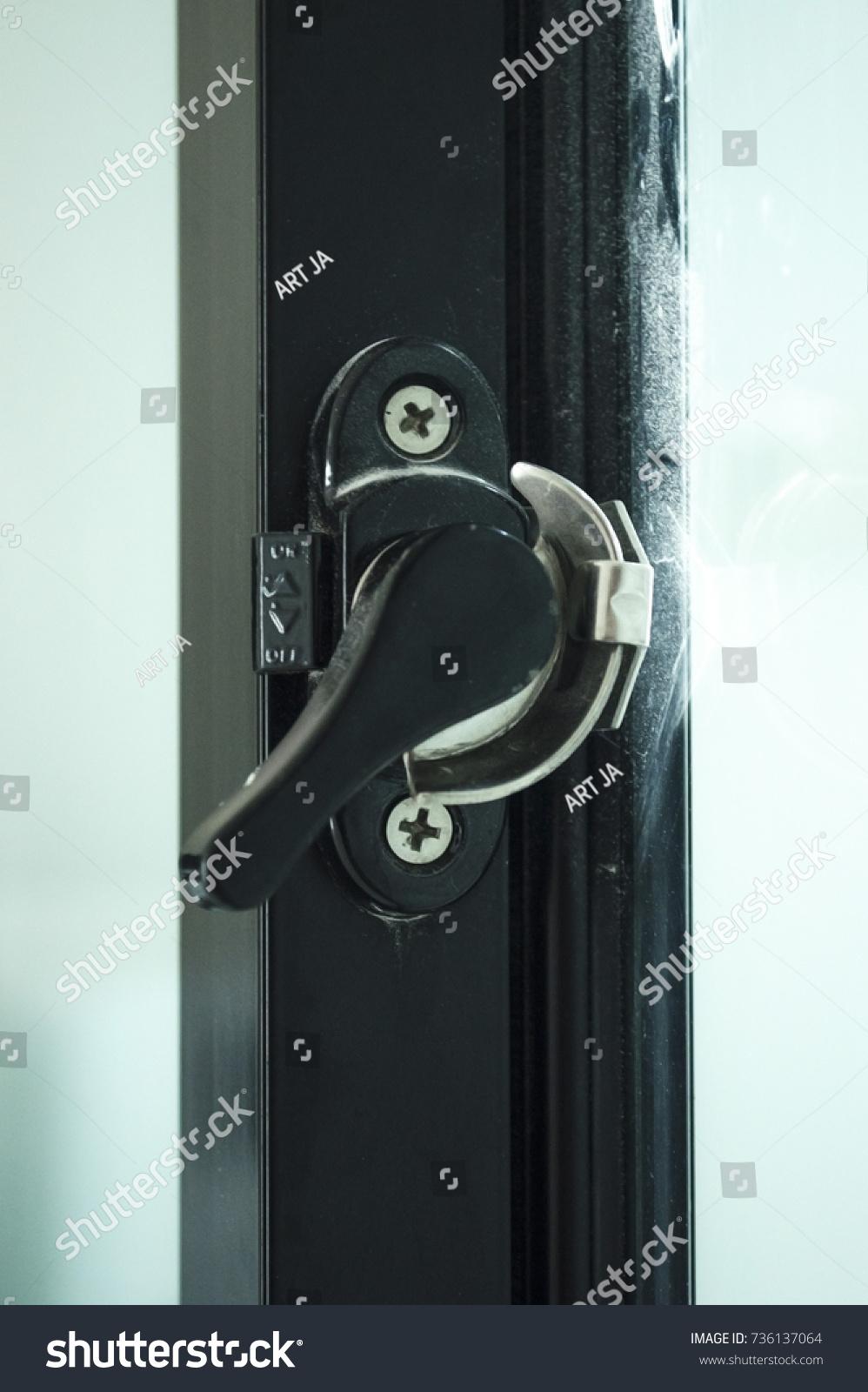 Lock System Double Sliding Door Window Stock Photo Edit Now