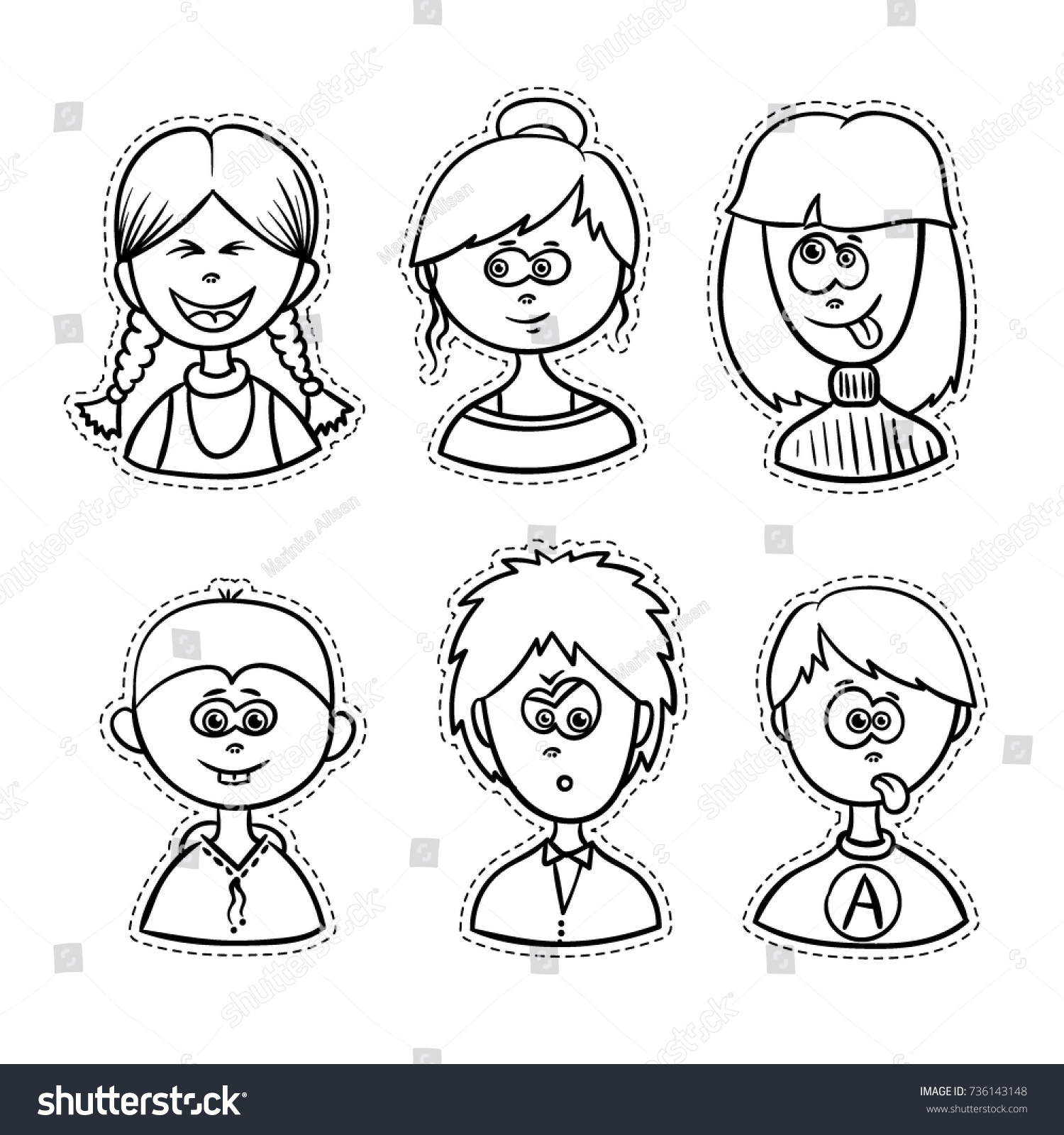 line art vector for coloring book boys and girls collection sketch style people - Coloring Books For Boys