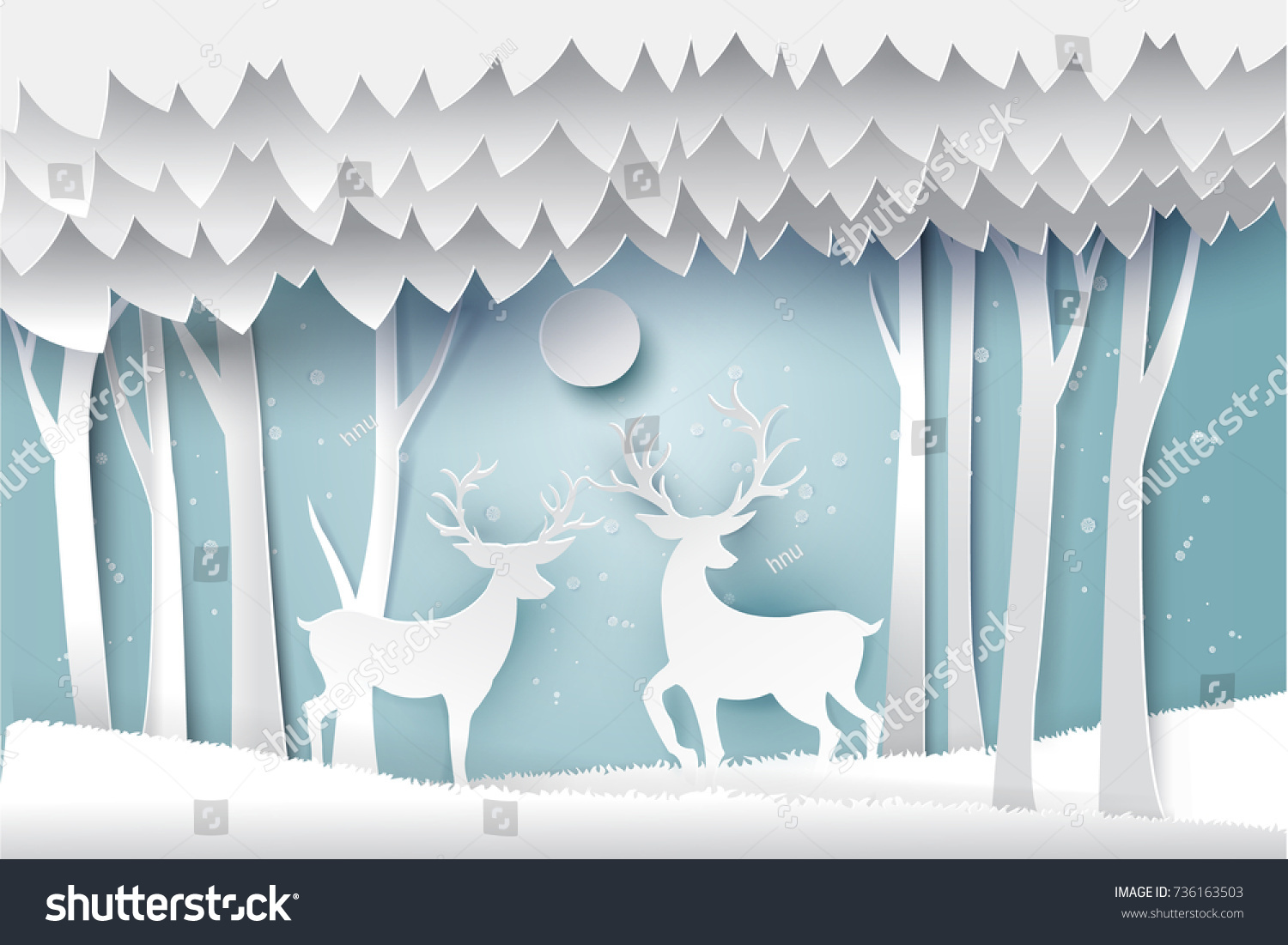 Paper art landscape christmas happy new stock vector for Landscape design paper