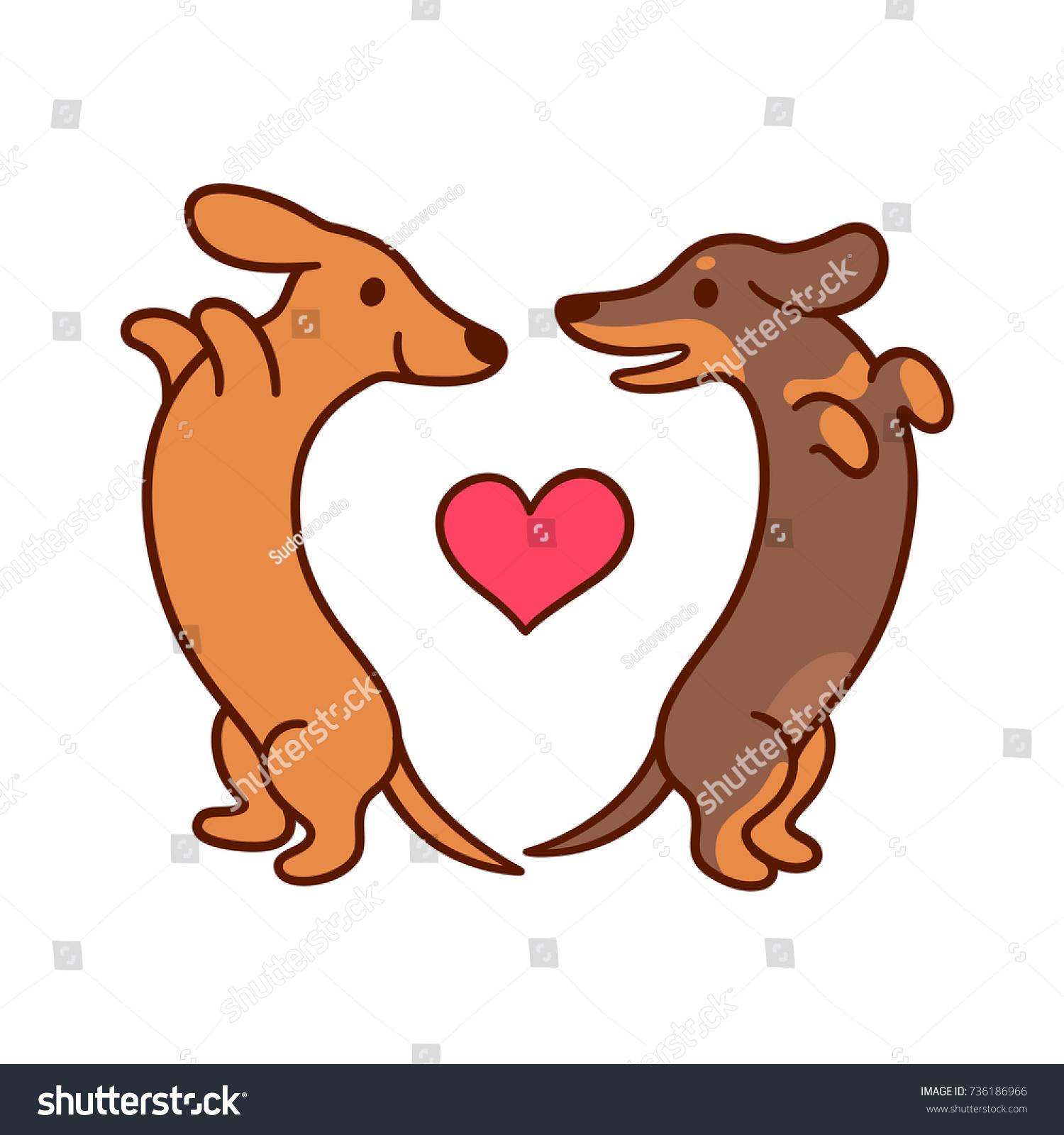 Love Each Other Cartoon: Cute Cartoon Dachshunds Love Adorable Wiener Stock Vector