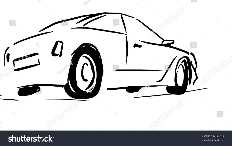 Sedan car side view black white stock vector royalty free