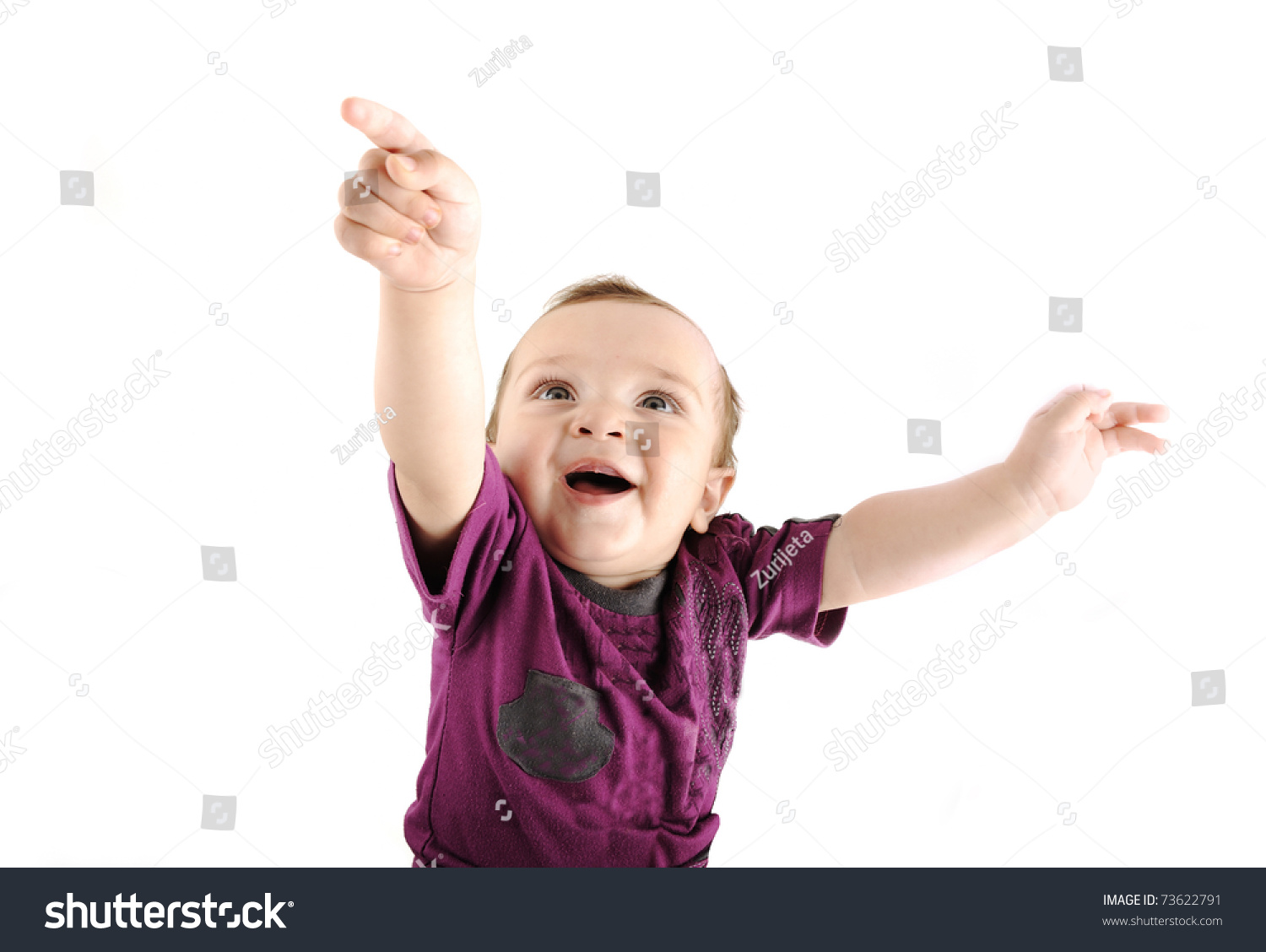 stock photo cute pointing into