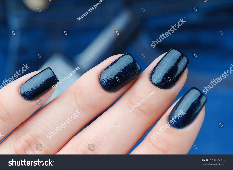 Dark Blue Manicure Nail Polish Bottle Stock Photo (Royalty Free ...