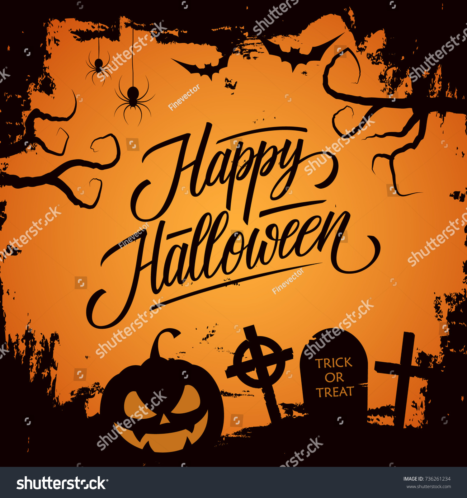 Happy Halloween Celebrate Card With Hand Lettering Text Design And