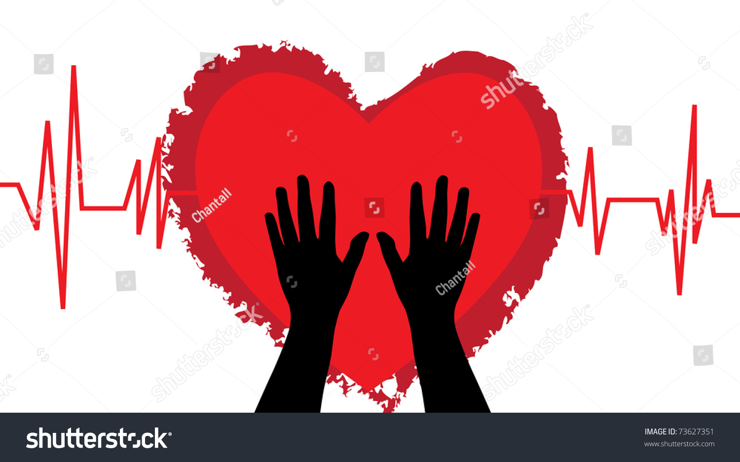 Abstract heartbeat human hands symbol life stock illustration abstract heartbeat with human hands symbol of life and protection biocorpaavc