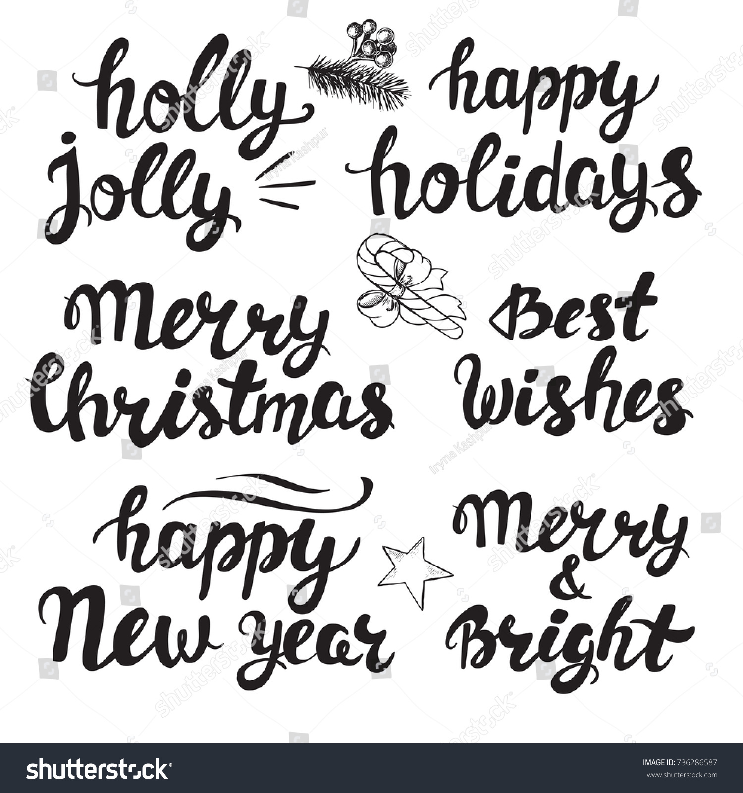 Christmas Calligraphy Lettering Merry Christmas Holly