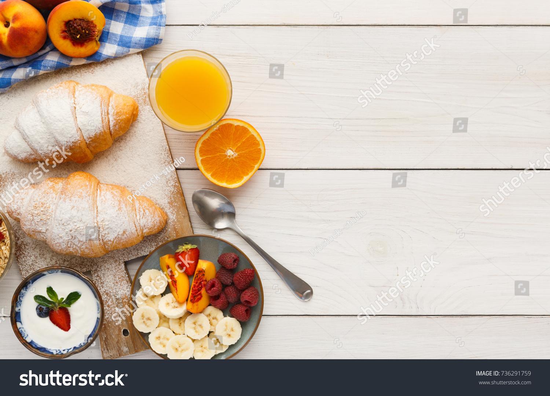 traditional french breakfast menu background yogurt stock photo
