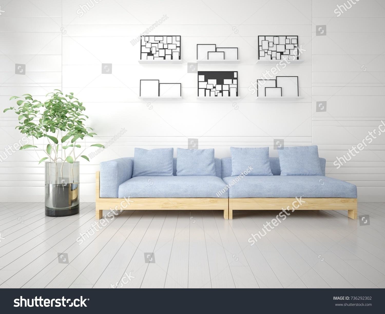 Mock Bright Living Room Blue Sofa Stock Illustration 736292302 ...