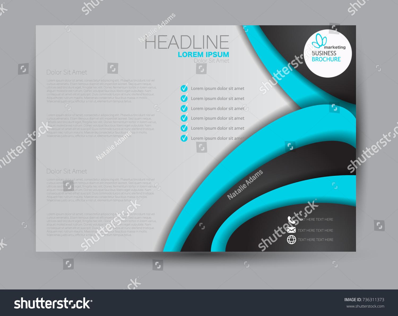 Black and blue landscape wide flyer or brochure template. Billboard ...