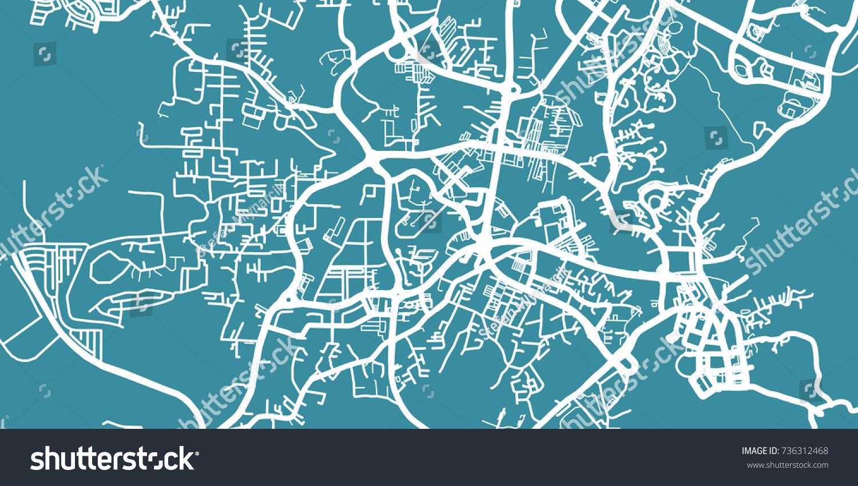 Detailed Vector Map Bandar Seri Begawan Stock Vector 736312468