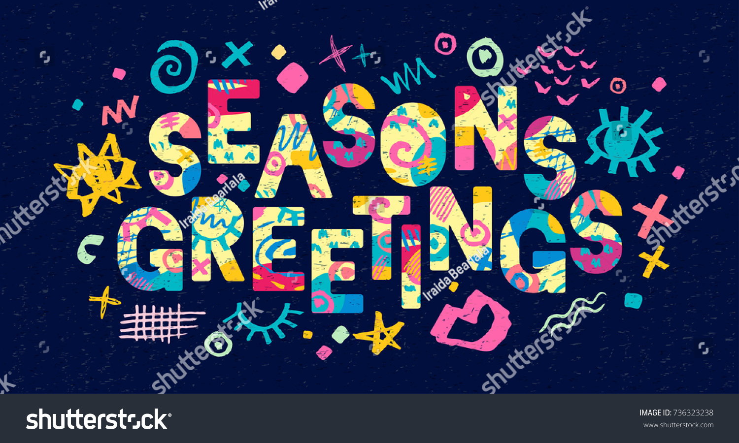 Seasons Greeting Lettering Greeting Card Hand Stock Vector