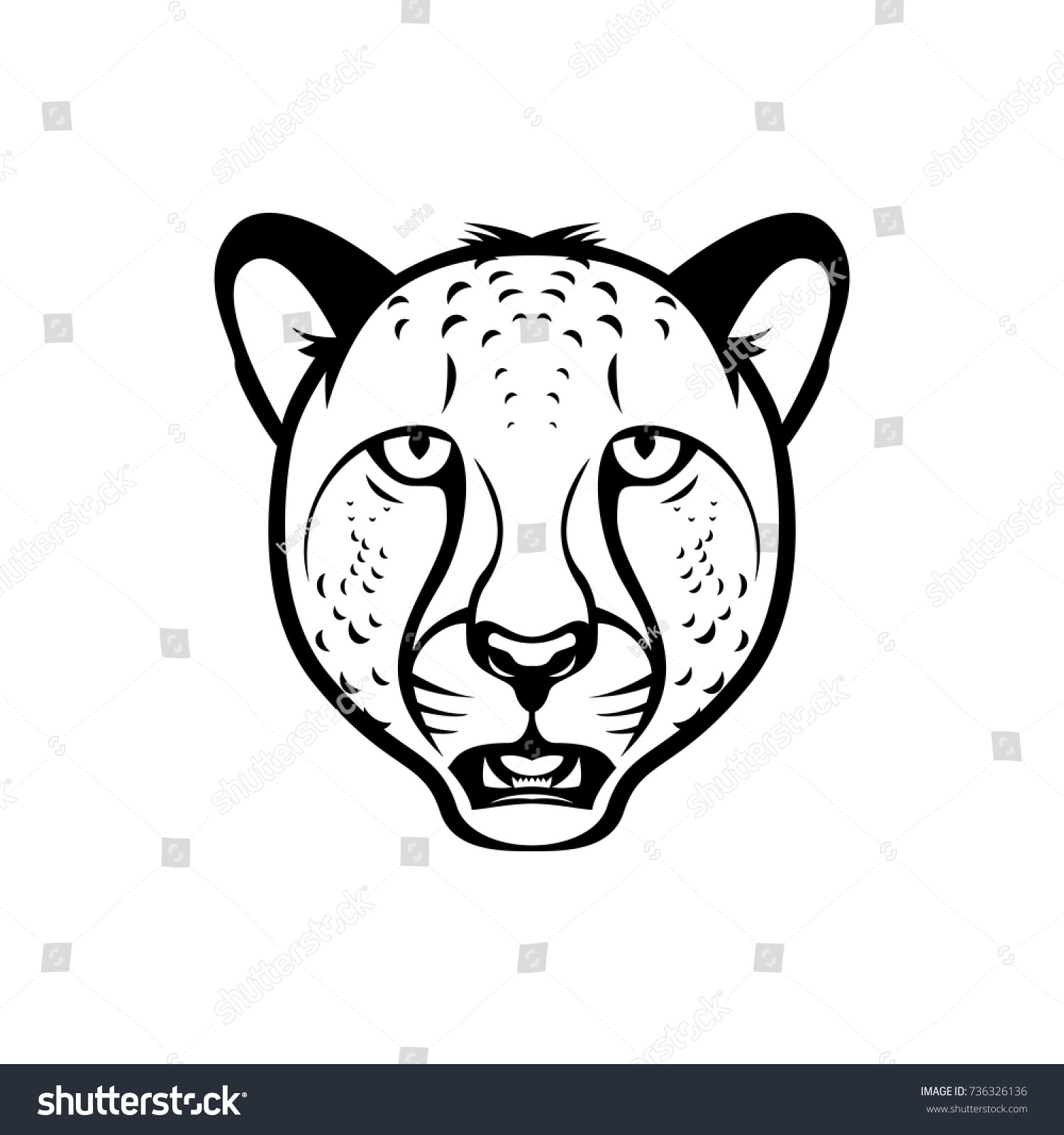 panther black line vector illustration on white background ez canvas