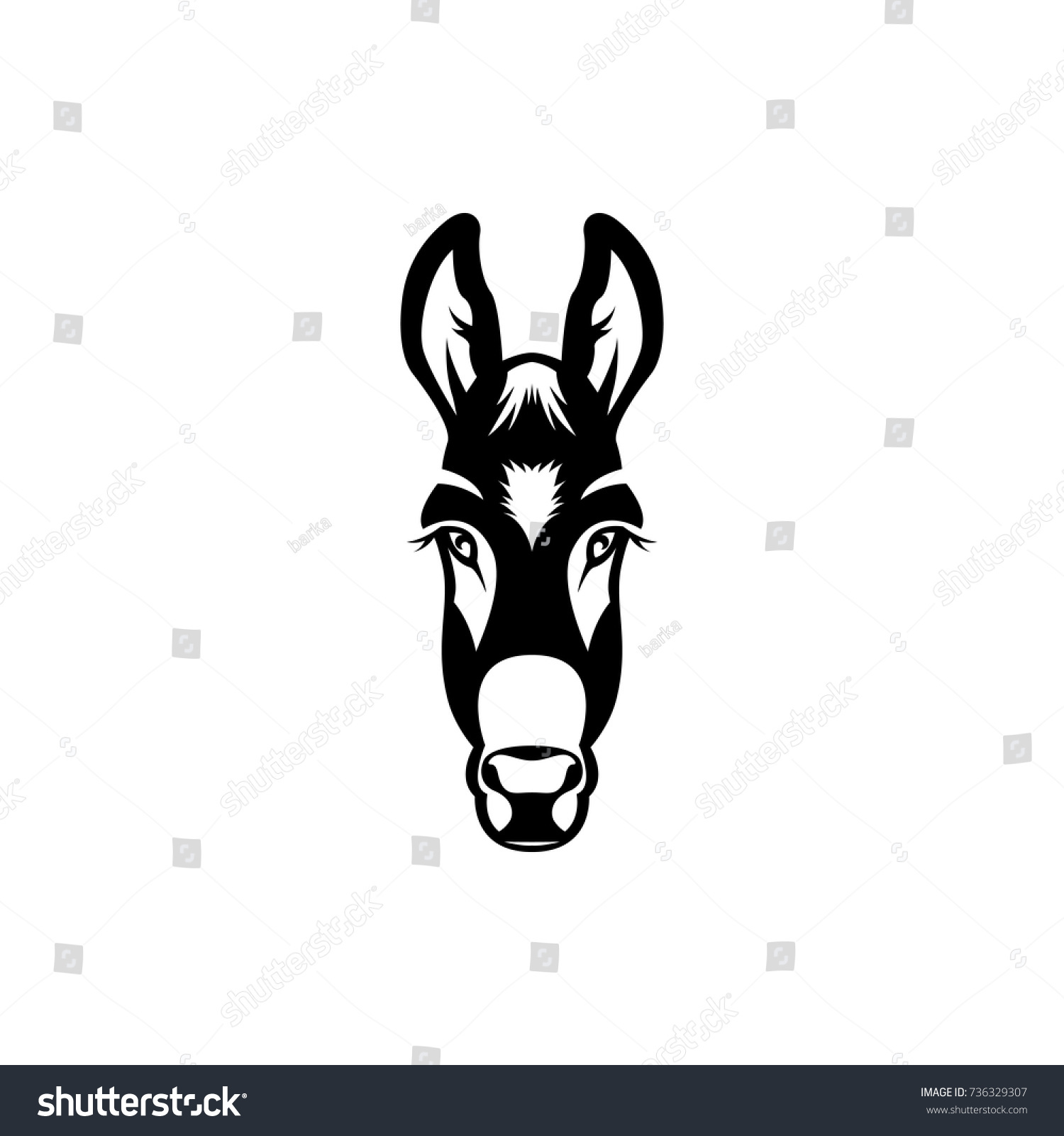 Vector Donkey Head Face Retro Hipster Stock Vector (Royalty Free ...