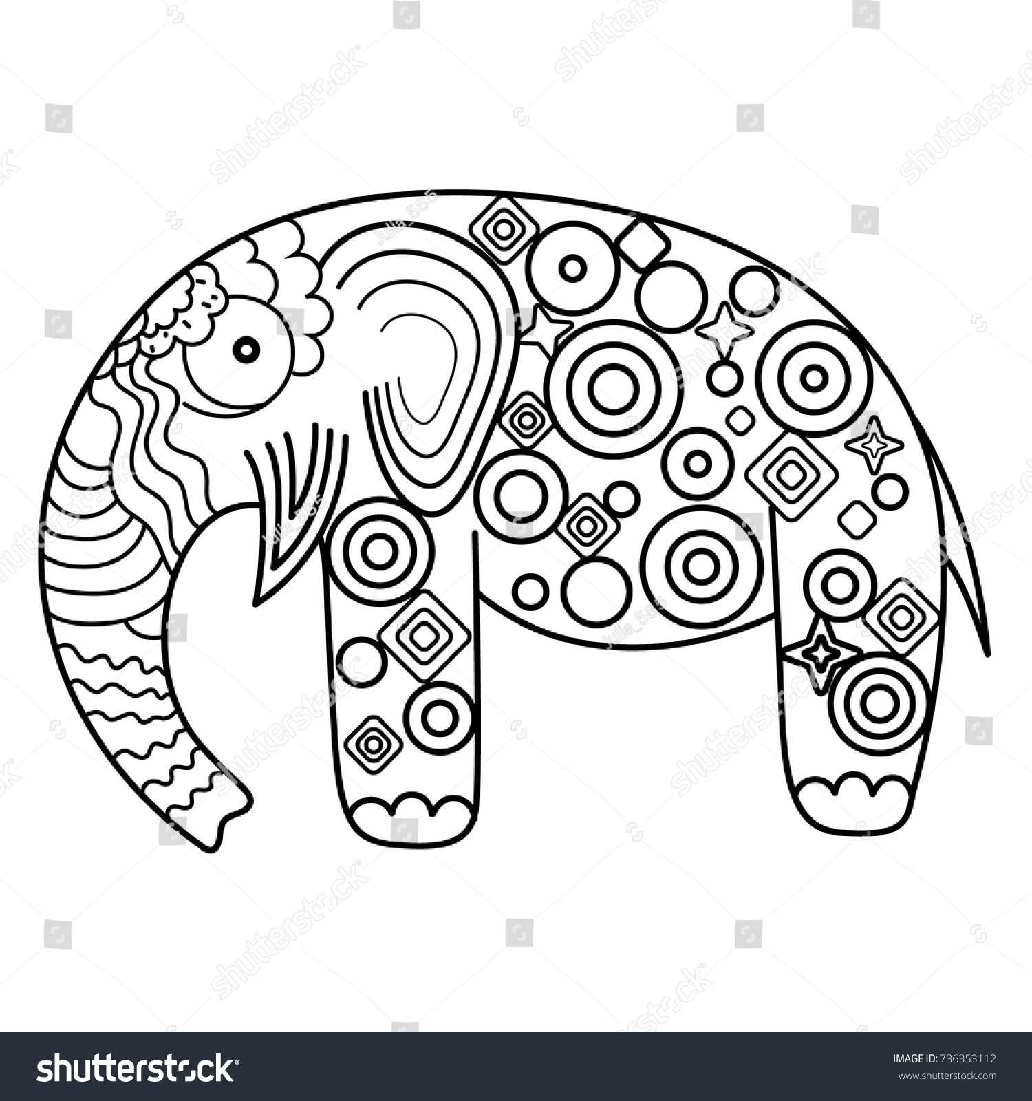 Vector Illustration Elephant Coloring Page Adult Stock Vector ...