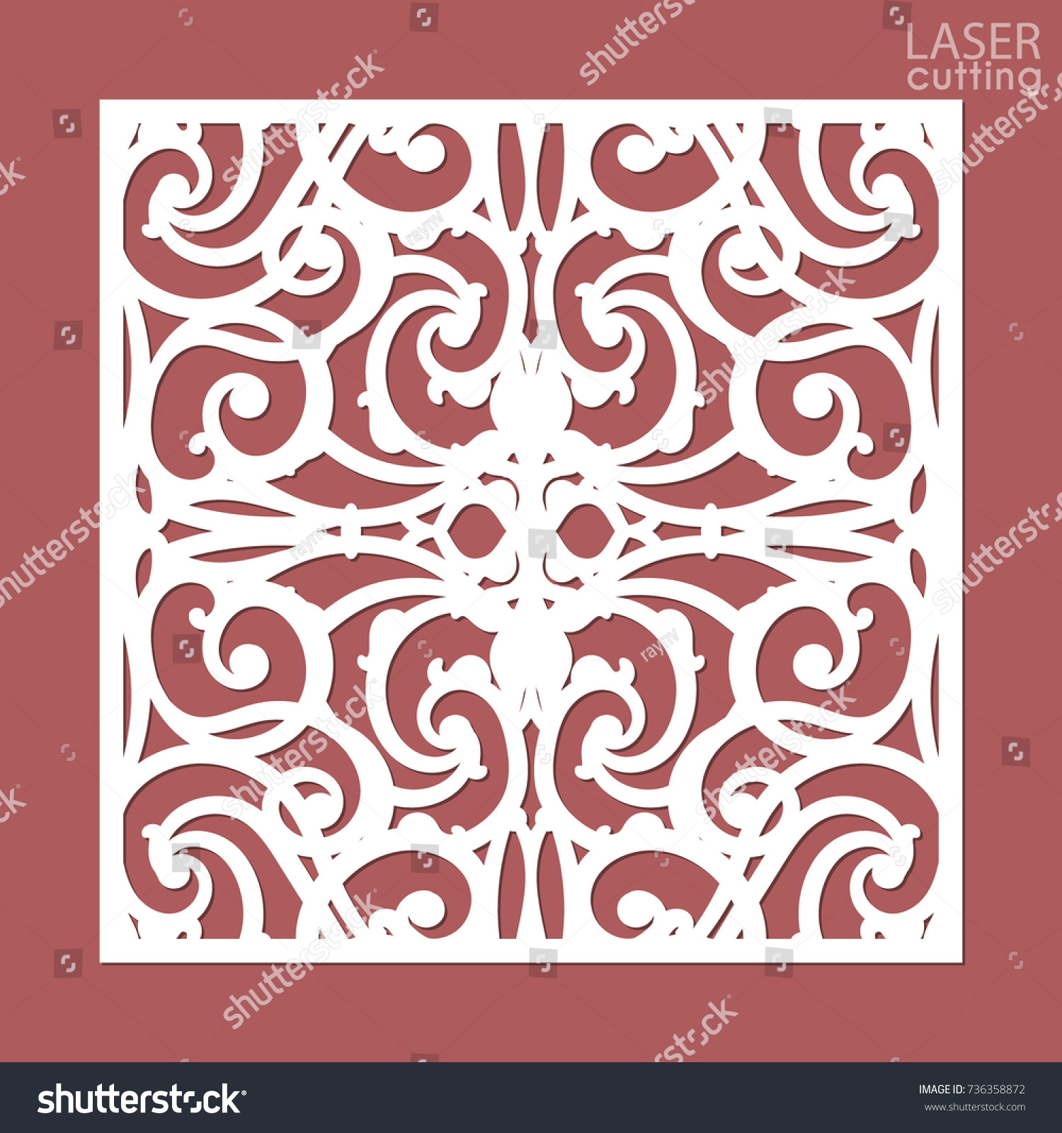 Laser Cut Square Ornamental Panel Pattern Stock Vector (Royalty Free ...