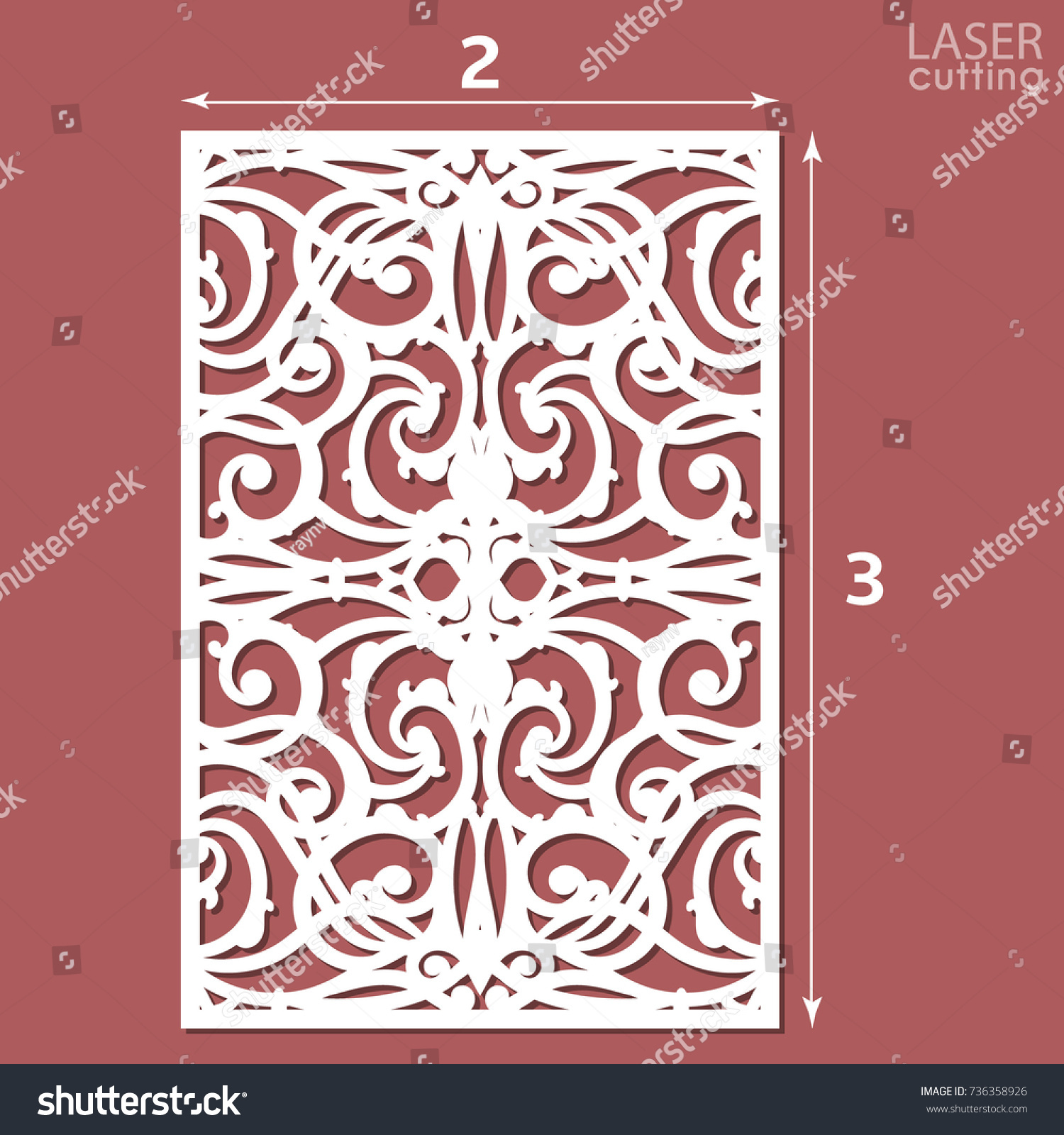 Laser Cut Ornamental Panel Pattern Template Stock Vector 736358926 ...