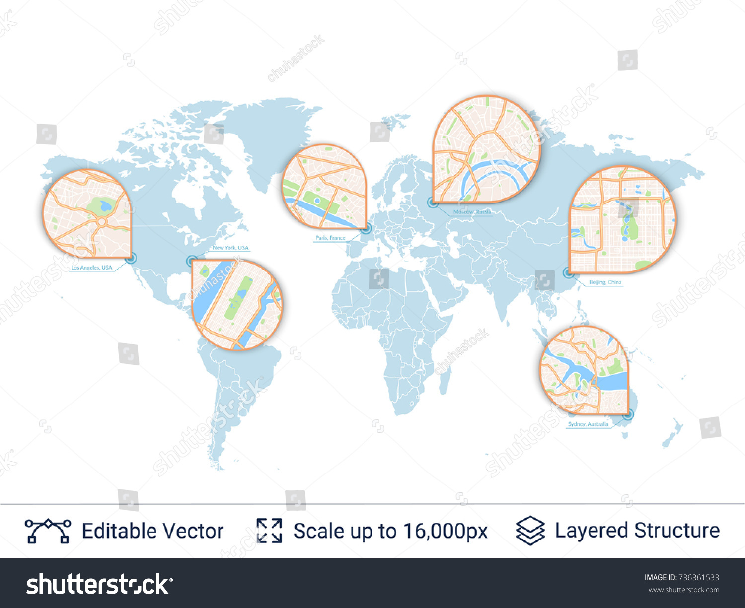 World map city plan zoom earth vector de stock736361533 shutterstock world map and city plan in zoom earth map with zoom window and city scheme gumiabroncs Gallery