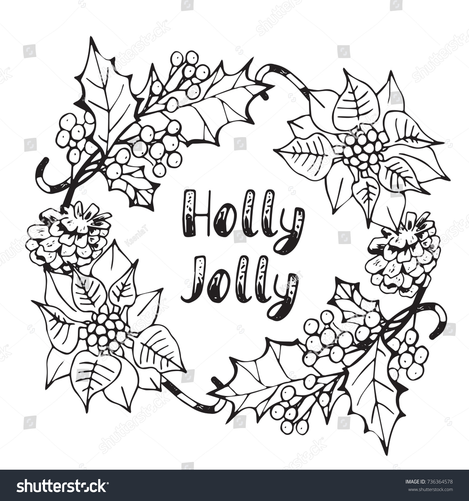 Hand Drawn Winter Poster With Natural Wreath Made Of Berries Leaves And Lettering Holly