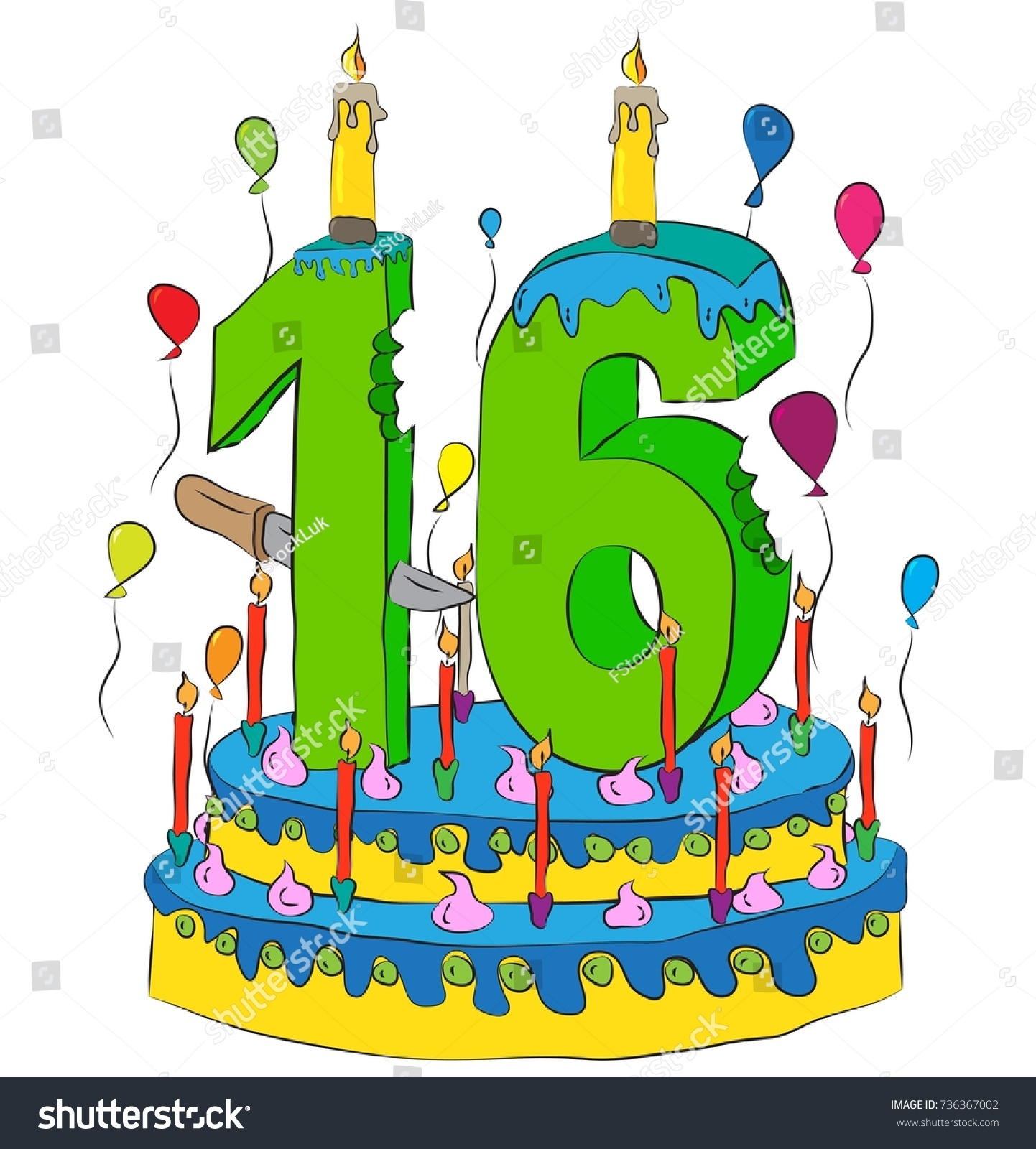 Miraculous 16 Birthday Cake Number Sixteen Candle Stock Vector Royalty Free Funny Birthday Cards Online Drosicarndamsfinfo