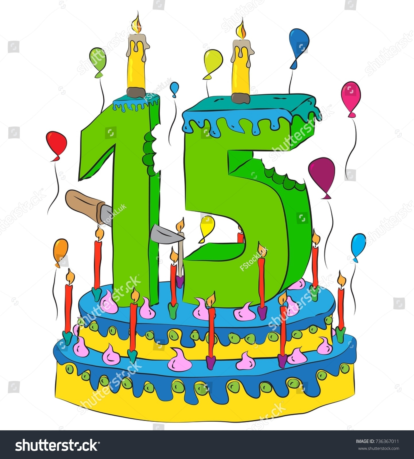 Stupendous 15 Birthday Cake Number Fifteen Candle Stock Vector Royalty Free Funny Birthday Cards Online Alyptdamsfinfo