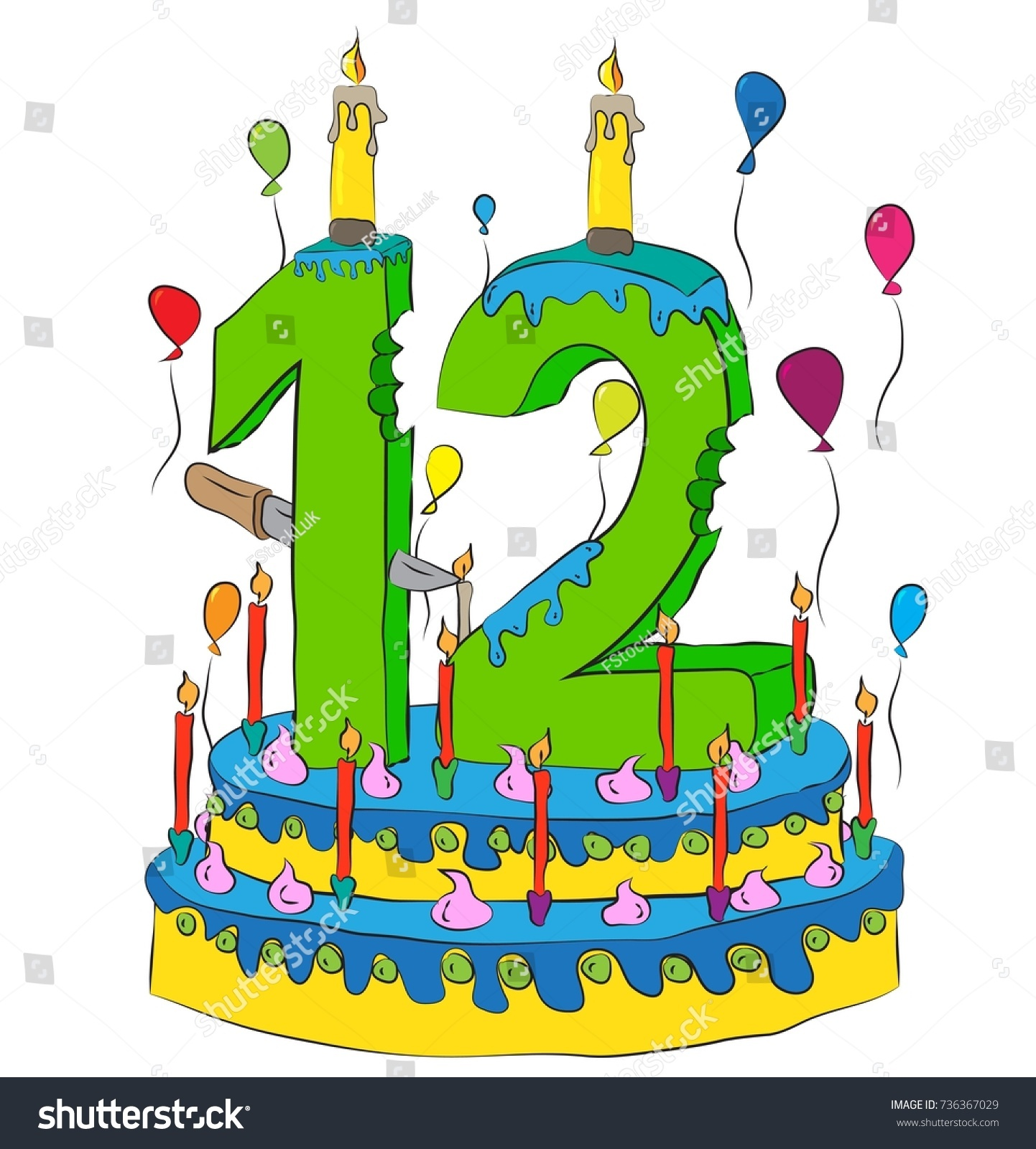 Remarkable 12 Birthday Cake Number Twelve Candle Stock Vector Royalty Free Personalised Birthday Cards Epsylily Jamesorg
