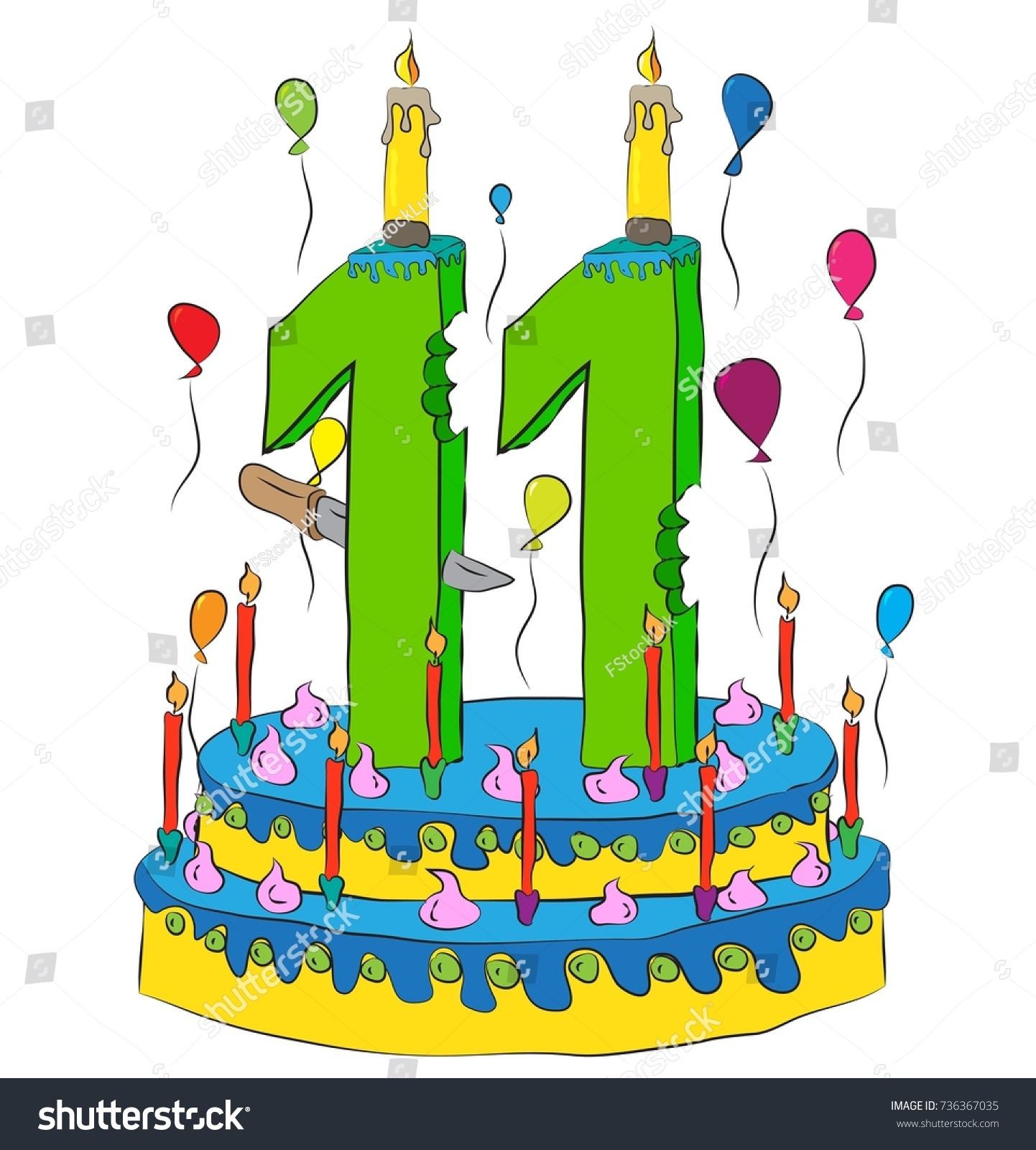 11 Birthday Cake With Number Eleven Candle Celebrating Eleventh Year Of Life Colorful Balloons