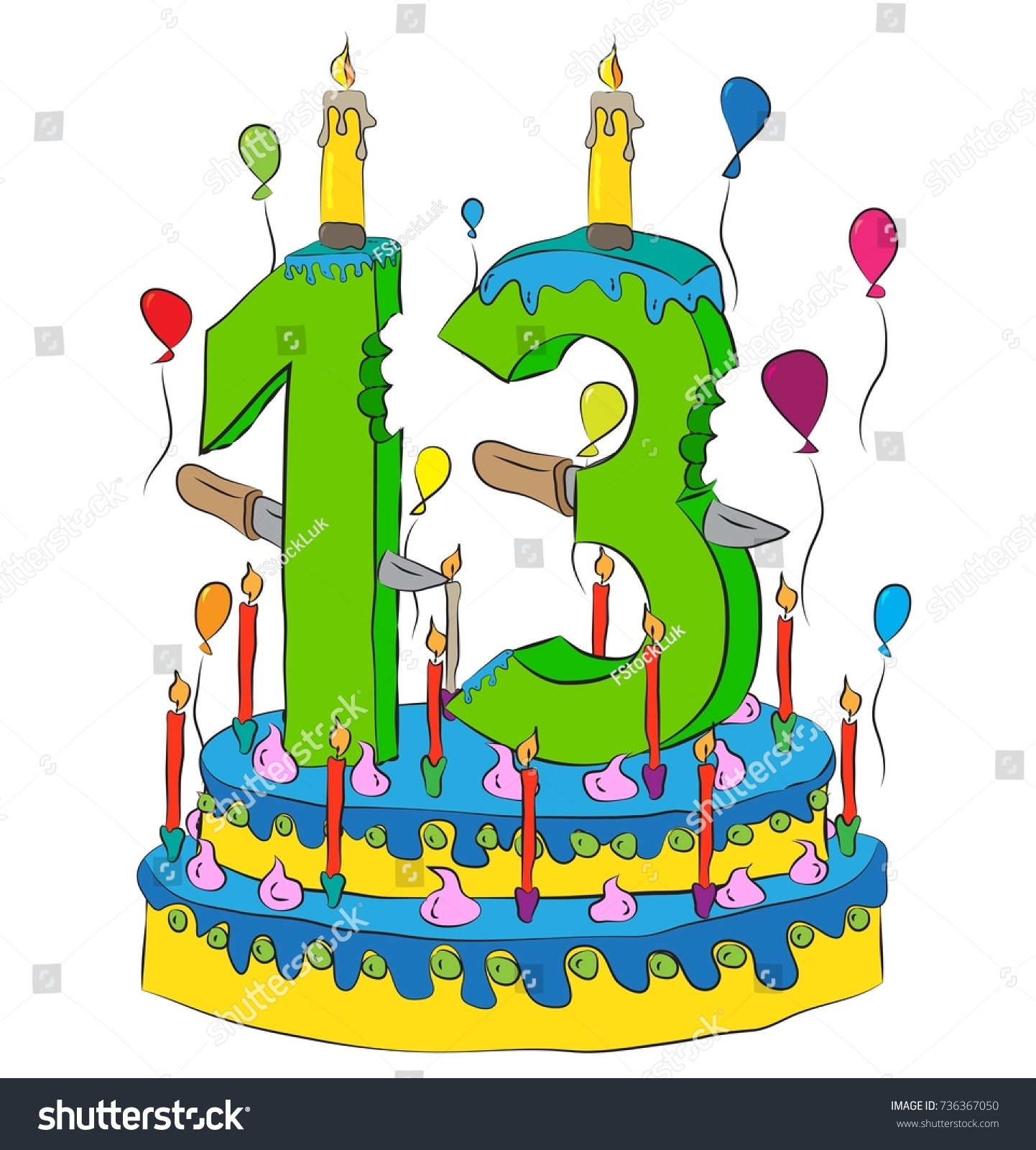 13 Birthday Cake Number Thirteen Candle Stock Vector 2018